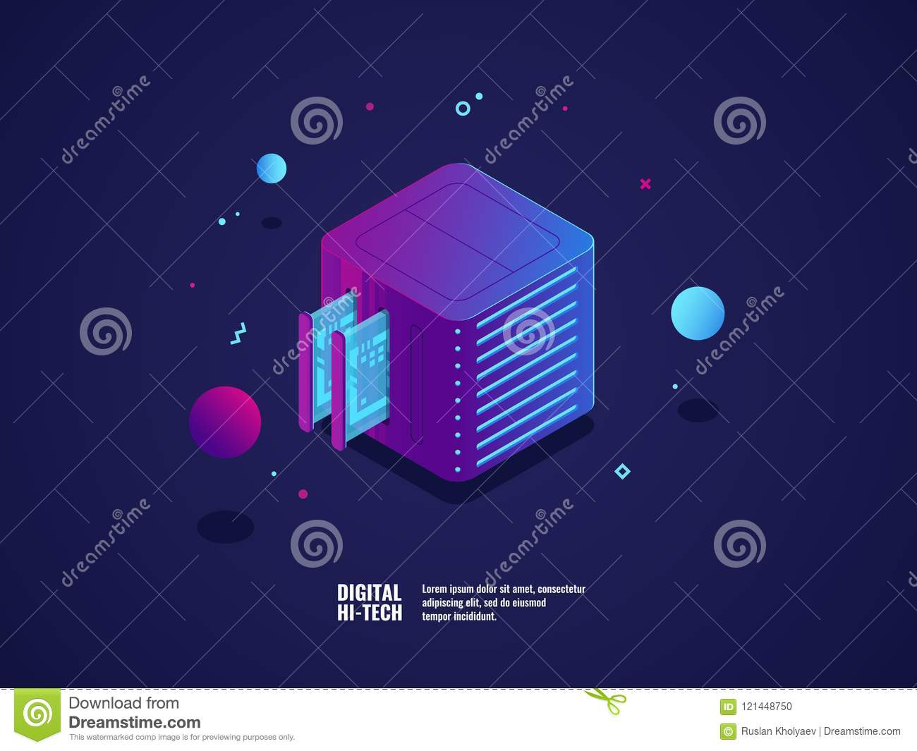 Web hosting and virtual server room icon, datacenter and database cloud storage, memory slot, futuristic technology