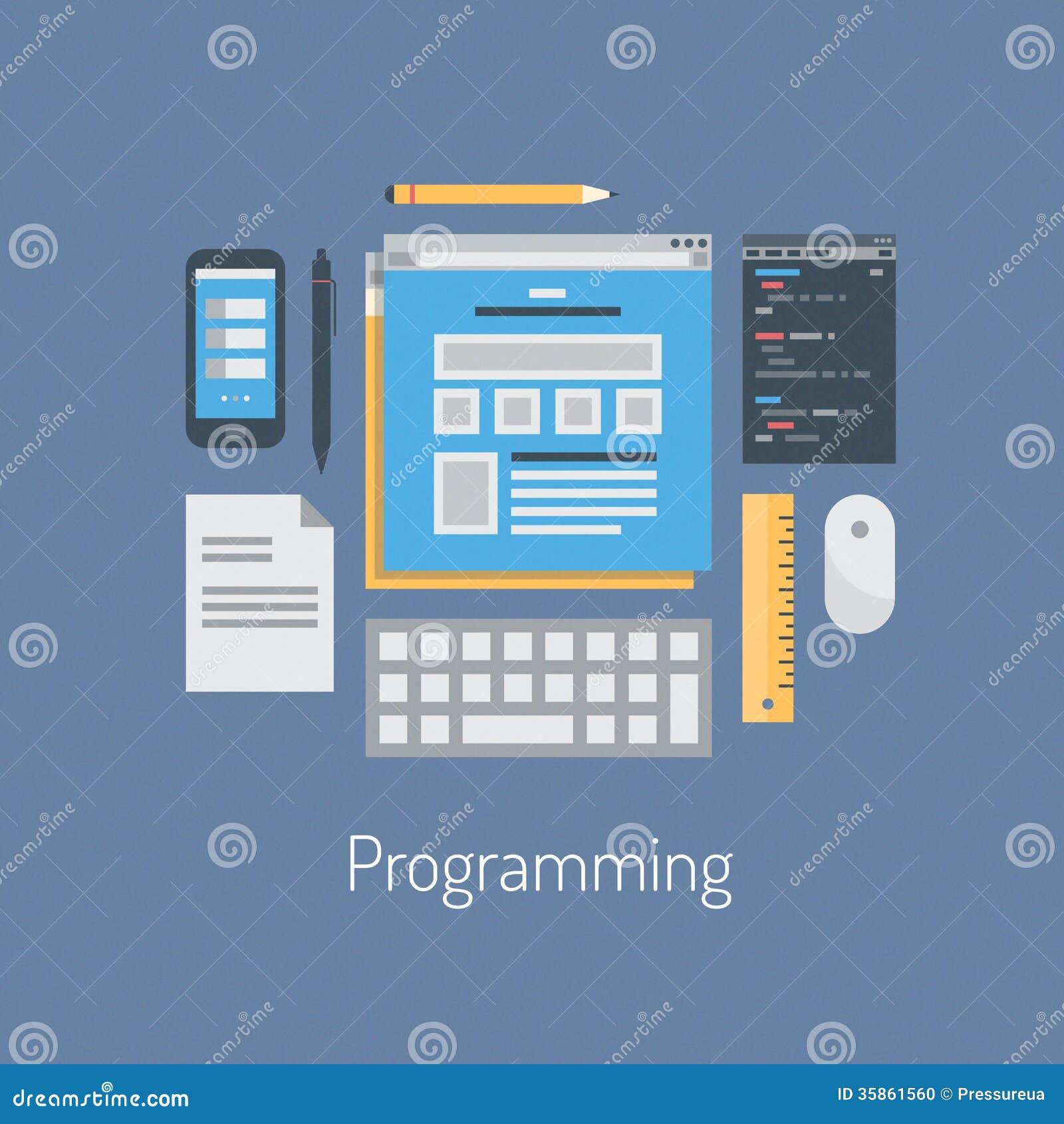 Web And HTML Programming Flat Illustration Stock Photo - Image ...