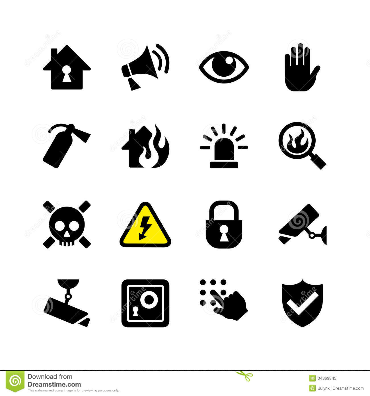 Web icon set security and surveillance