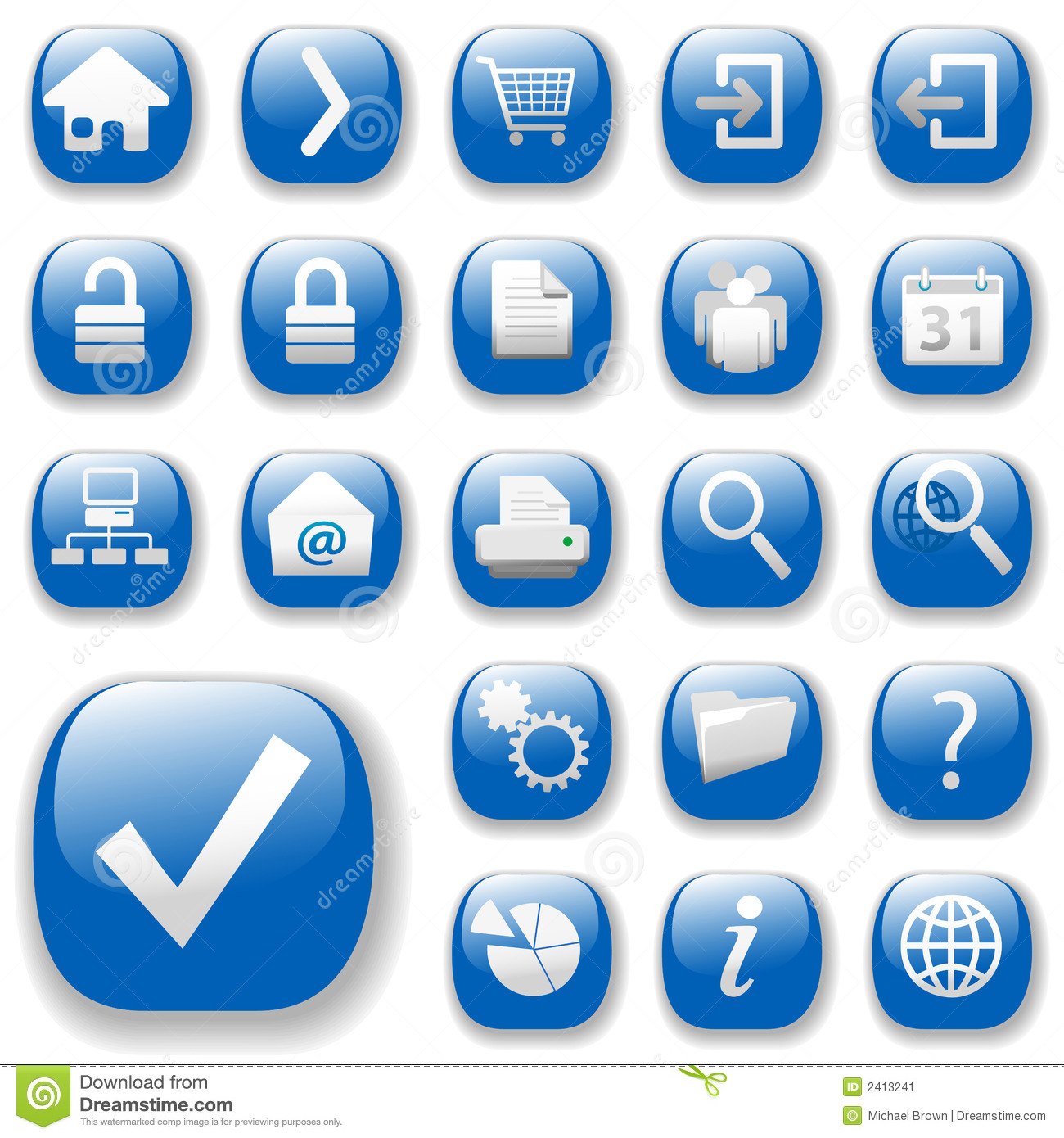 Web Icons, Blue, DropShadows Stock Image - Image: 2413241