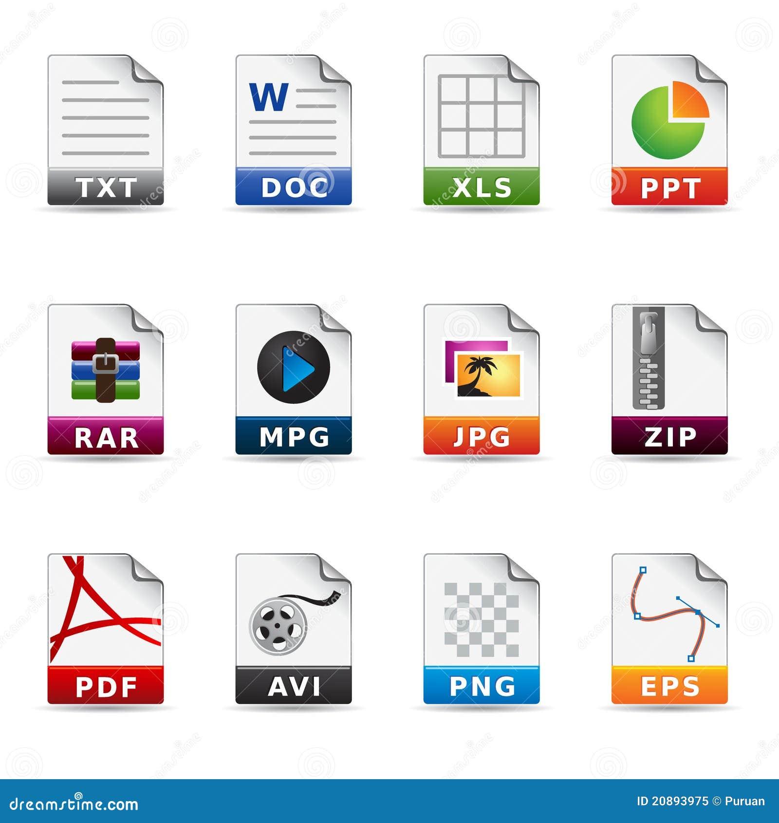 Web icons file types stock vector illustration of text - Definicion de multimedia ...