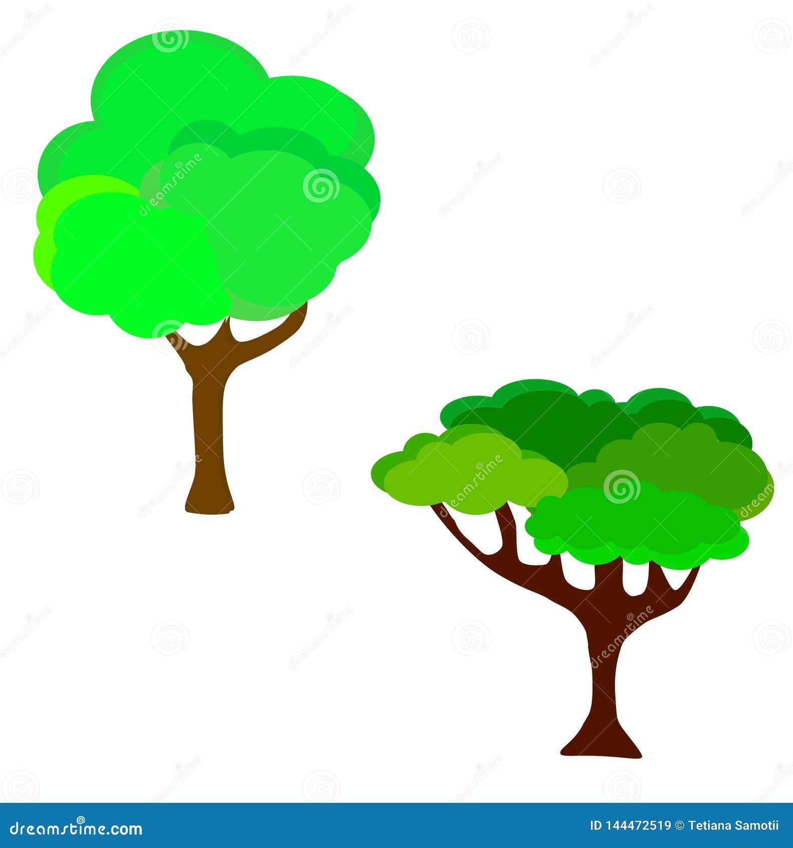 Web Illustrazione di vettore dell albero di verde del giardino del fumetto Gli alberi naturali di verde dell estate della foglia