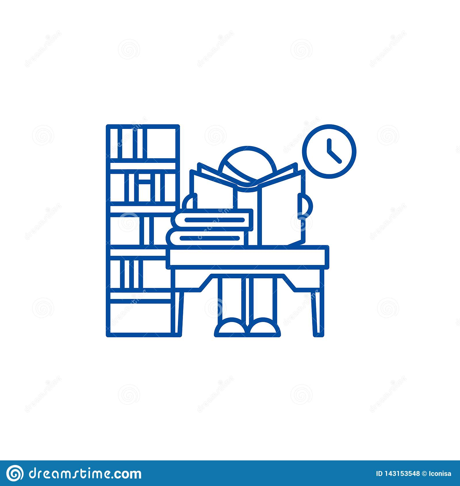 Library line icon concept. Library flat  vector symbol, sign, outline illustration.