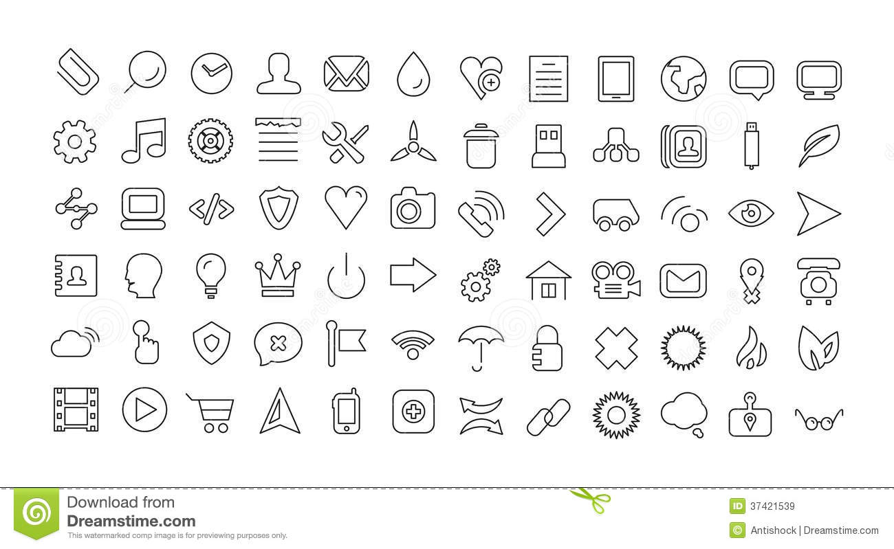 web line icon set  universal thin icons royalty free stock