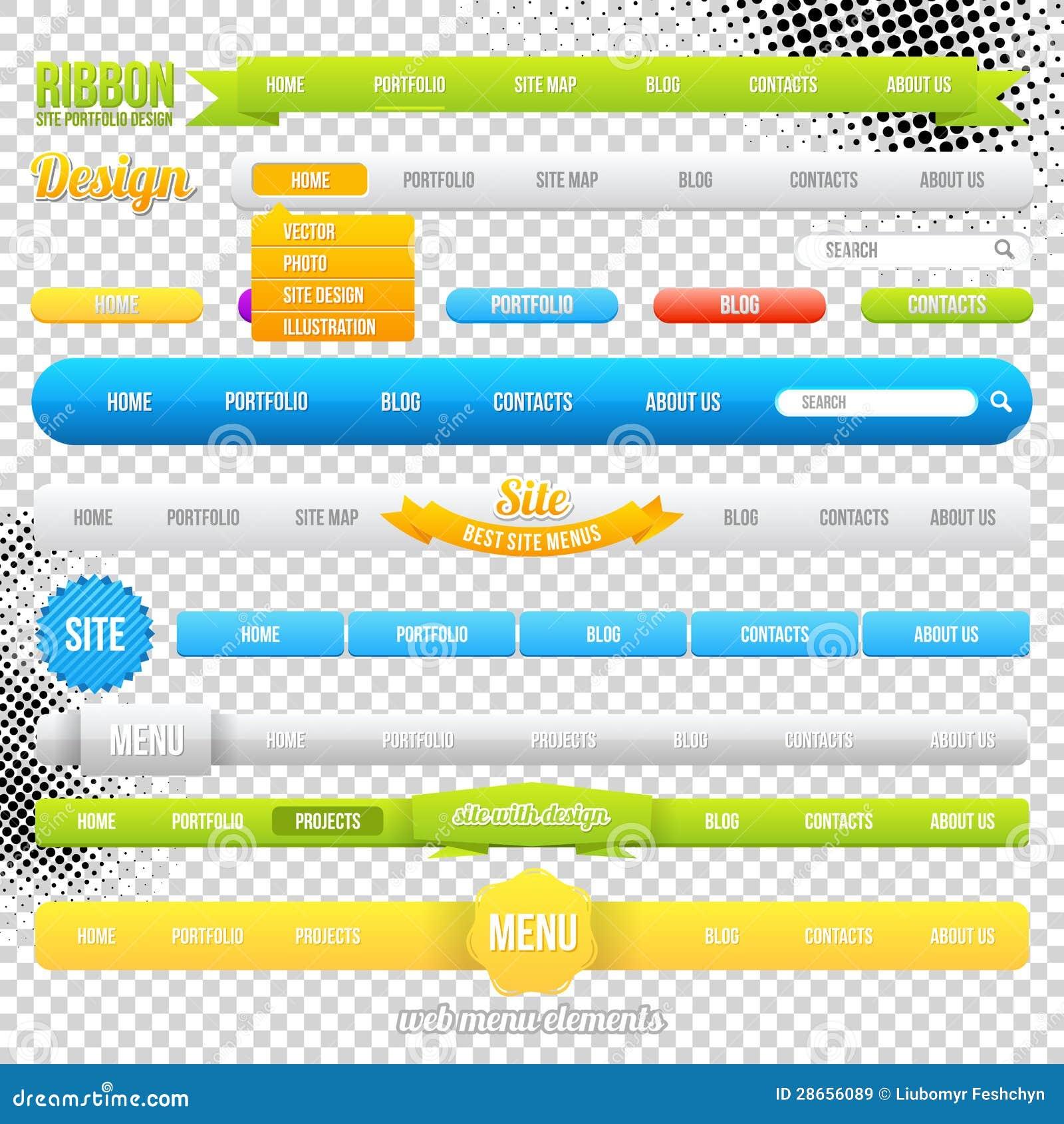 web menu element templates stock vector illustration of modern