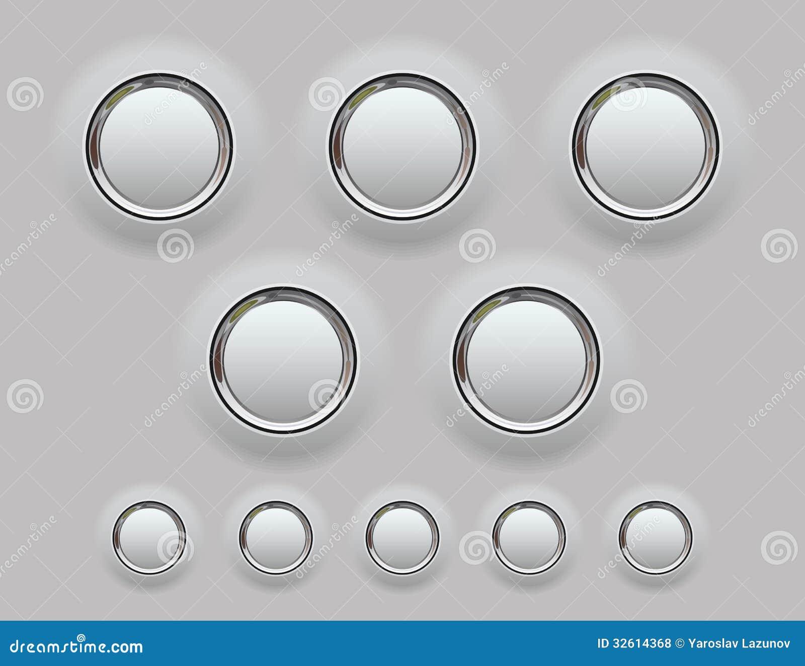 Vector Illustration Web Designs: Web Metal Button. Vector Illustration Stock Vector