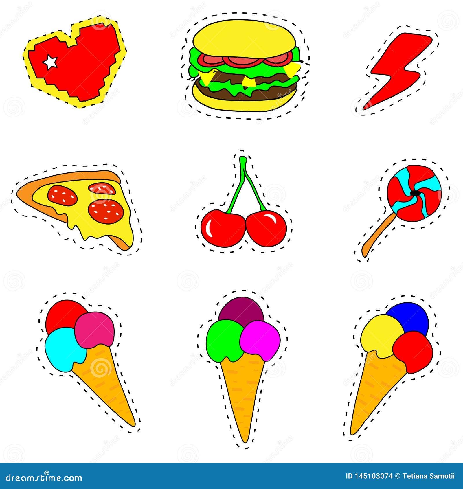 Web Na moda refrigere o grupo de crach?s do remendo do fast food no estilo do pop art Cole??o do vetor das etiquetas e dos pinos