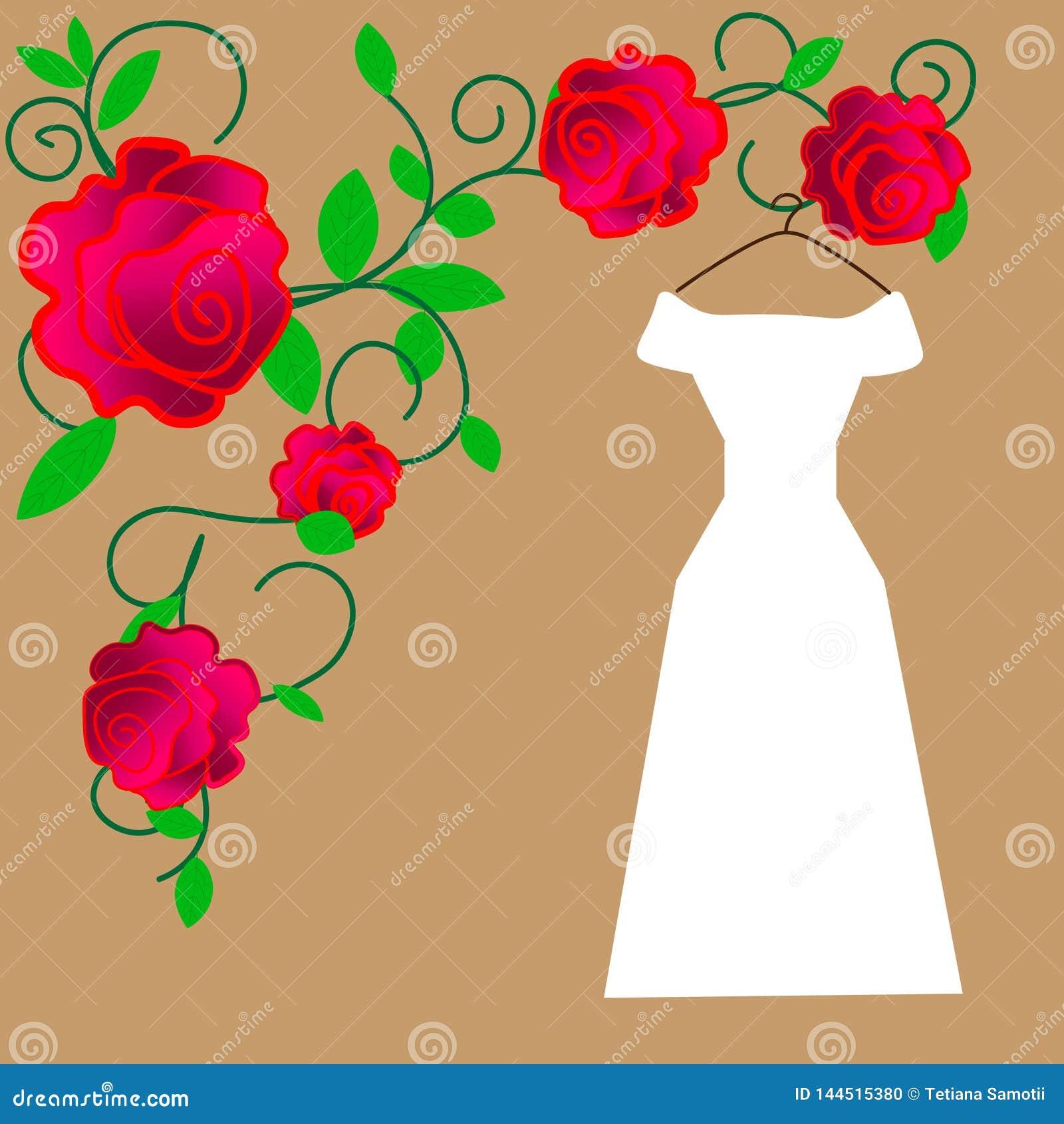 Web Novia en el ejemplo hermoso del vector del vestido que se casa