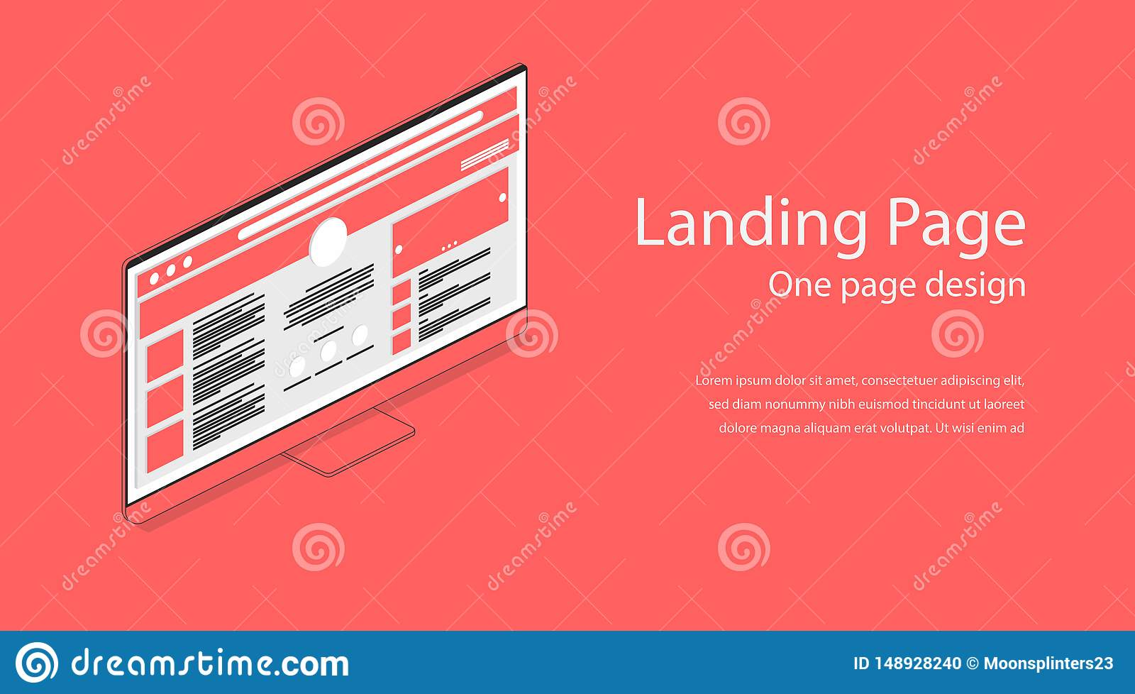 Web One Landing Page Design Template Flat Isometric Modern
