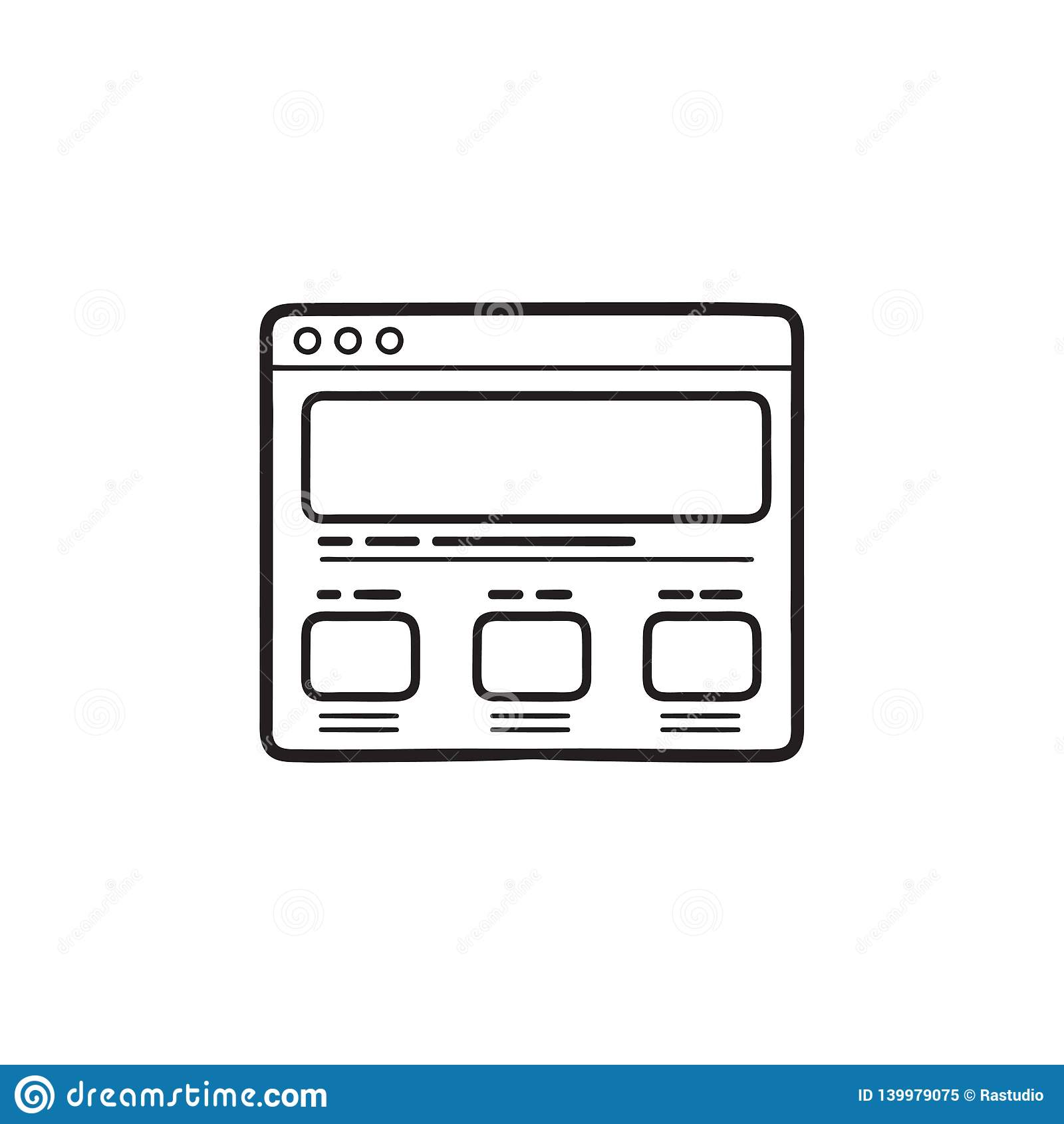 Web page design hand drawn outline doodle icon.