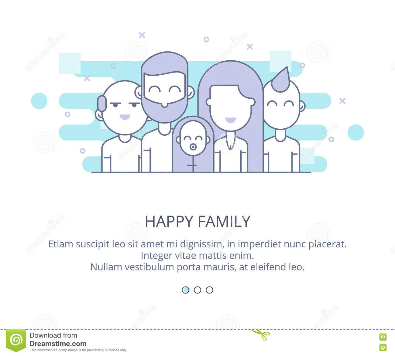 web page design template of happy family grandparents parents and