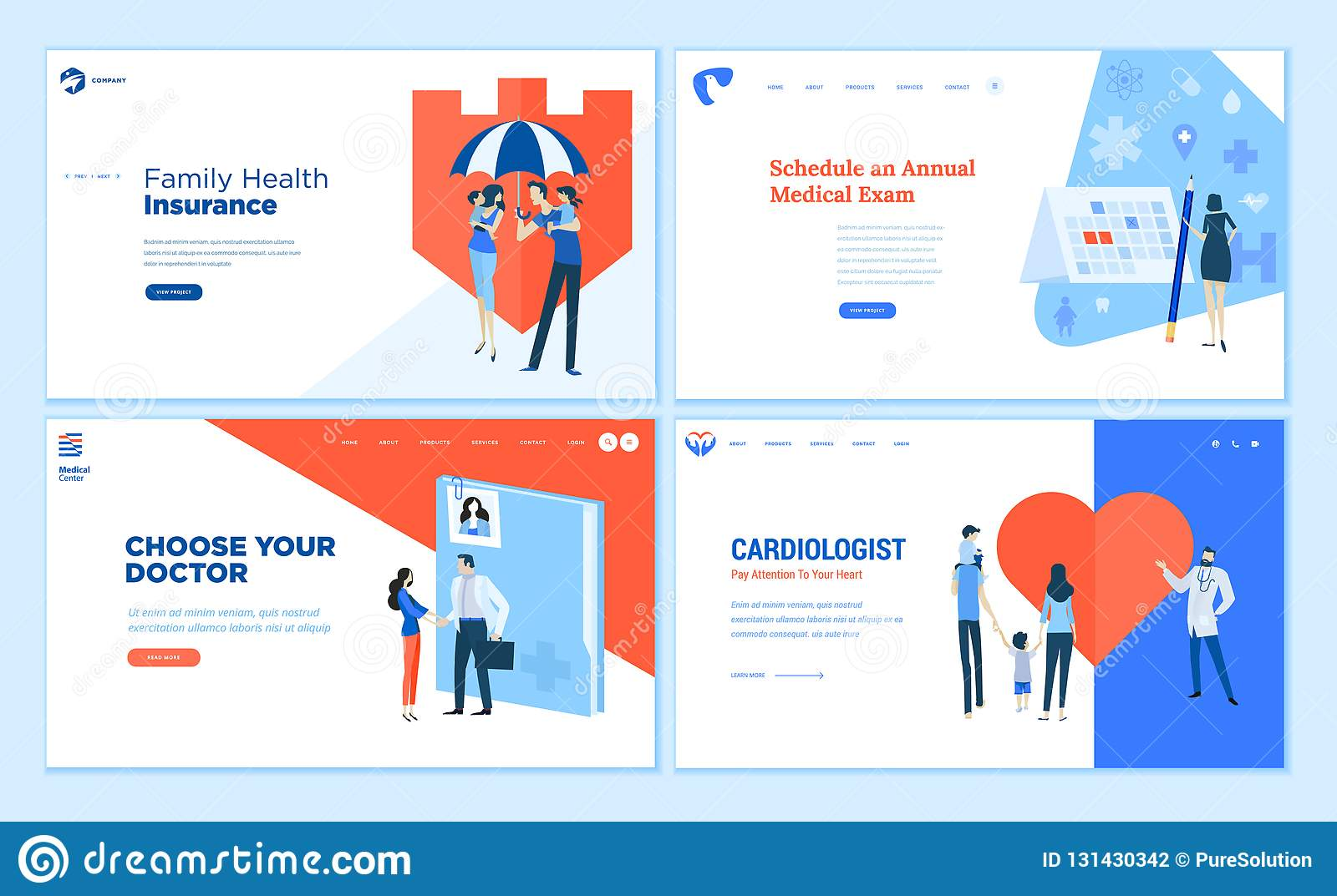 Web Page Design Templates Collection Of Healthcare Stock Vector