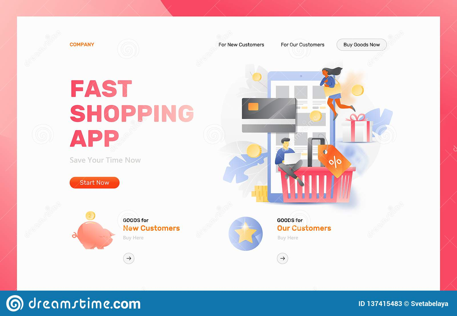Fast Shopping App Web Page Header Stock Vector - Illustration of