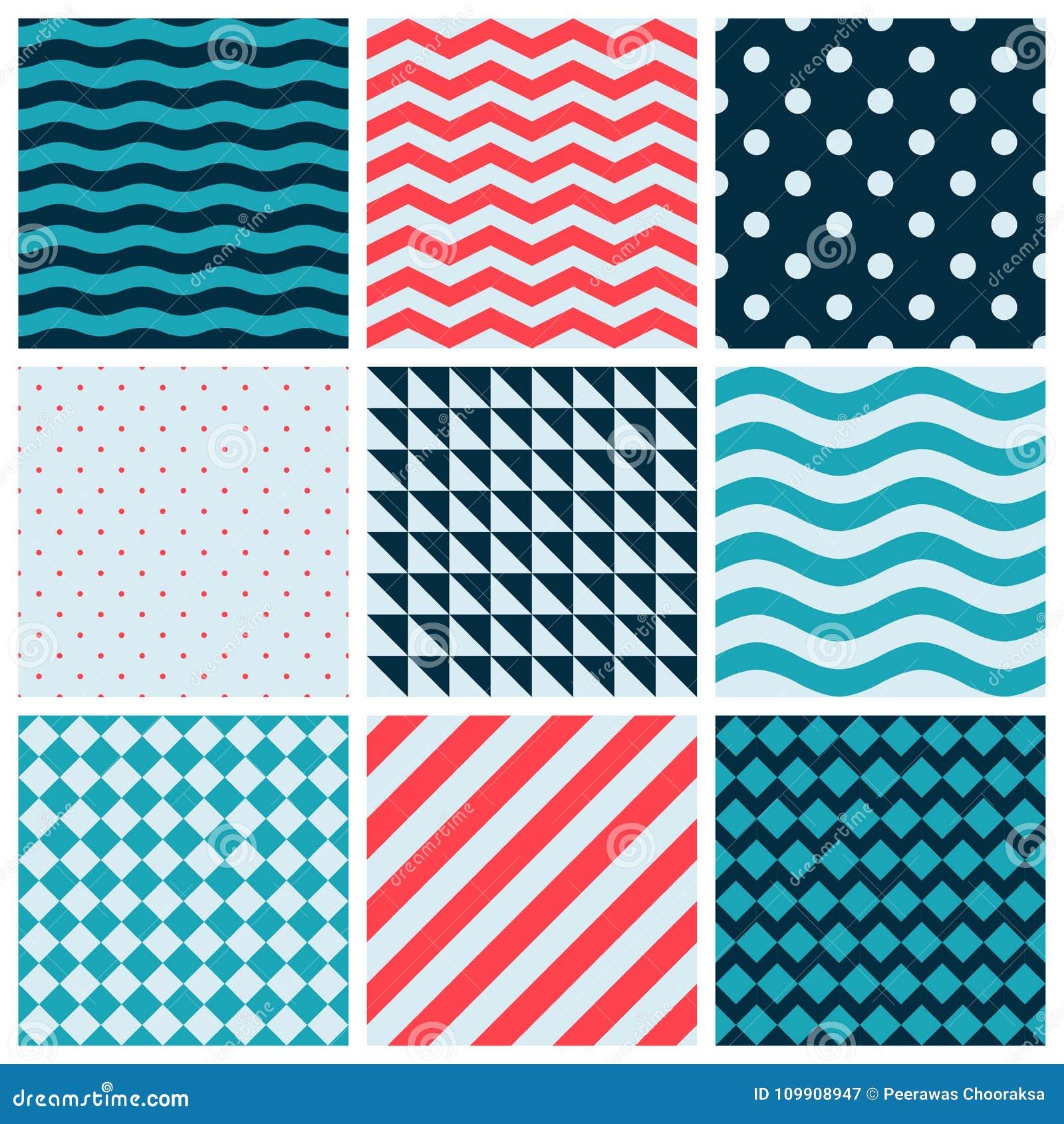 Web sem emenda geométrica da decoração da coleção do projeto do teste padrão do sumário colorido azul vermelho do vetor de onda