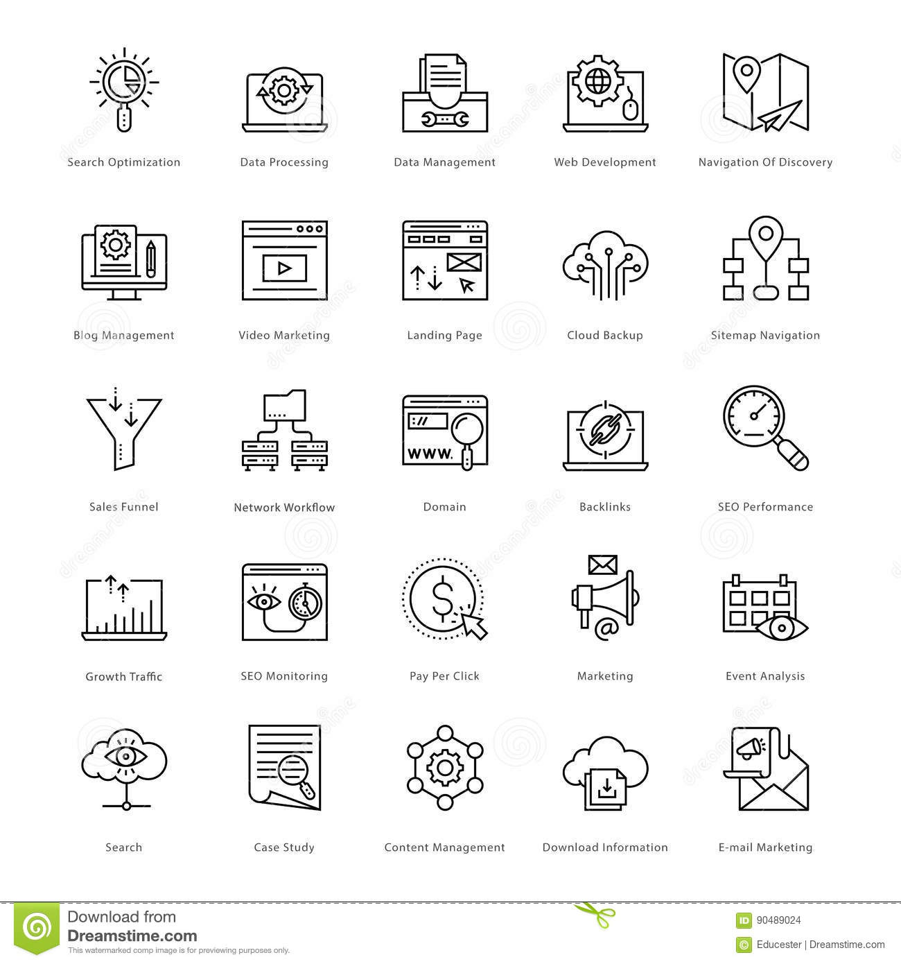 Web and SEO Line Vector Icons 51