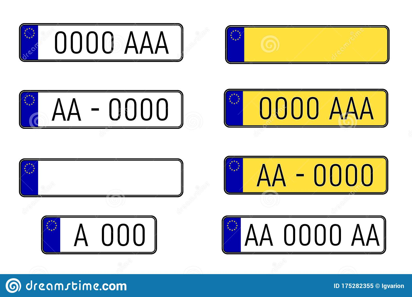 Set Of European Number Plates Stock Vector Illustration Of Design Abstract 175282355