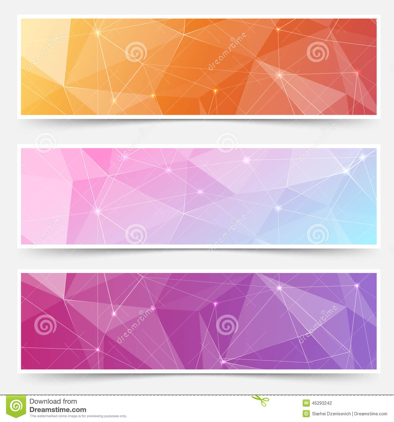 web shining crystal structure banner headers stock vector
