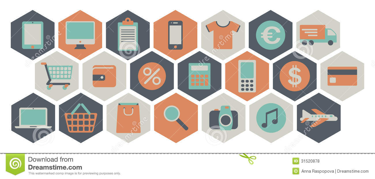 web shopping icons royalty free stock photos image 31520878. Black Bedroom Furniture Sets. Home Design Ideas