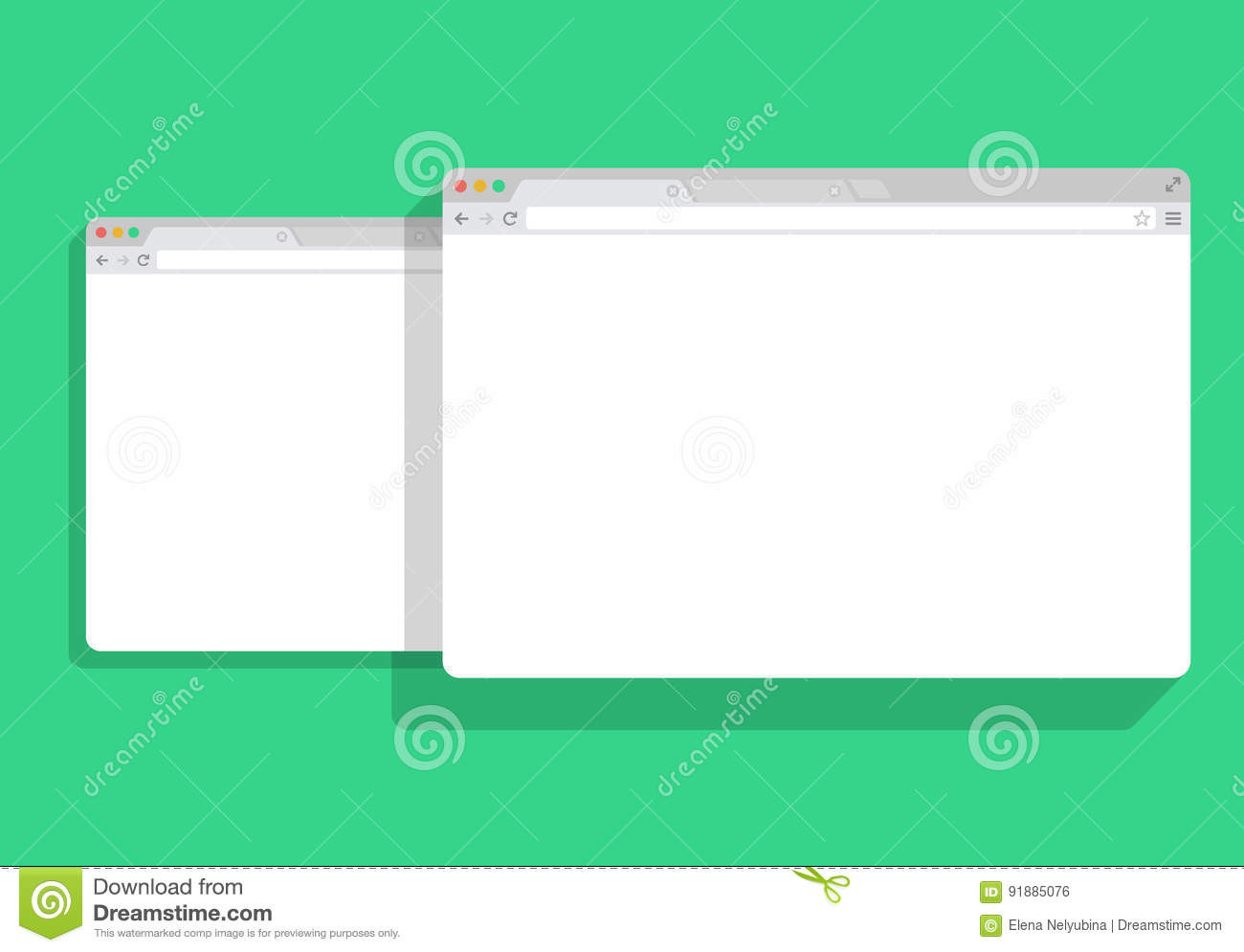 Web simple set of Browser window white, green background, mock-up vector illustration