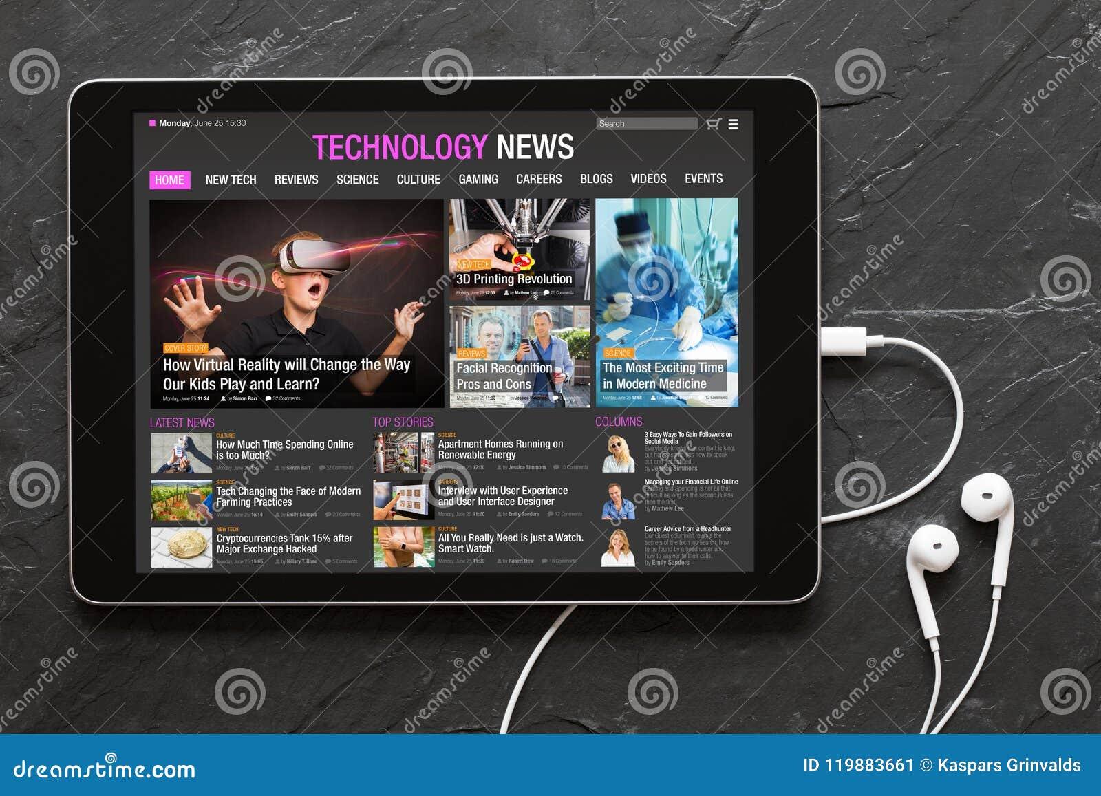 Web site da notícia da tecnologia na tabuleta
