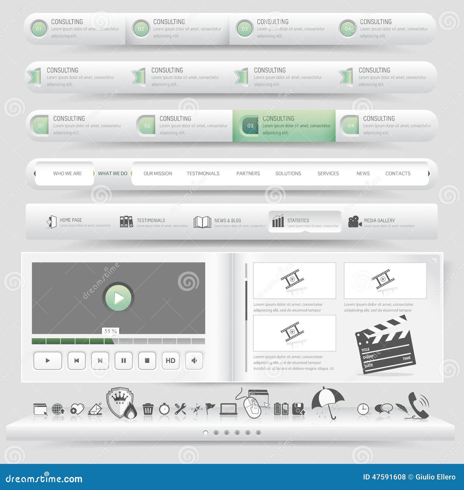 design template set vector illustration 55304732. Black Bedroom Furniture Sets. Home Design Ideas