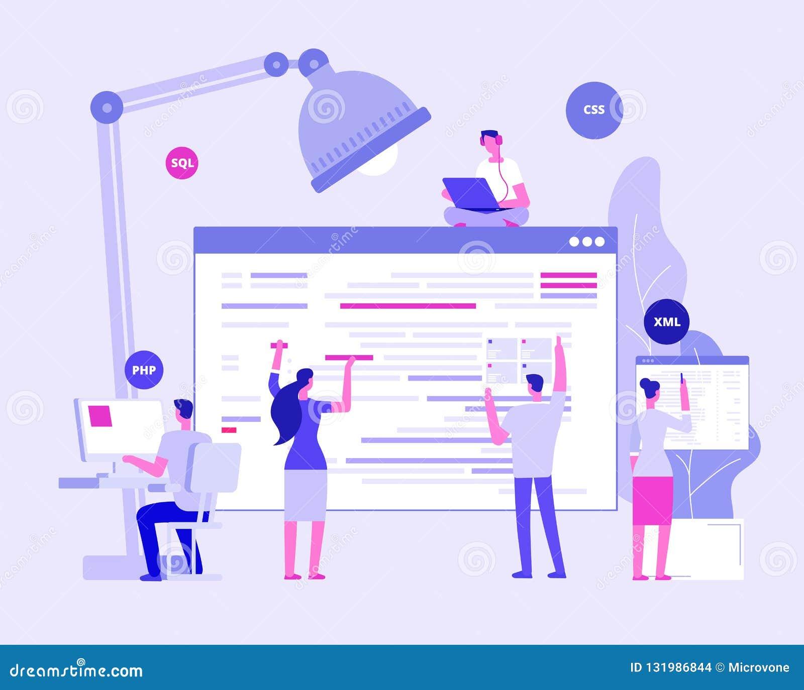 Web site development. Designers and programers create corporate site. Website coding vector concept