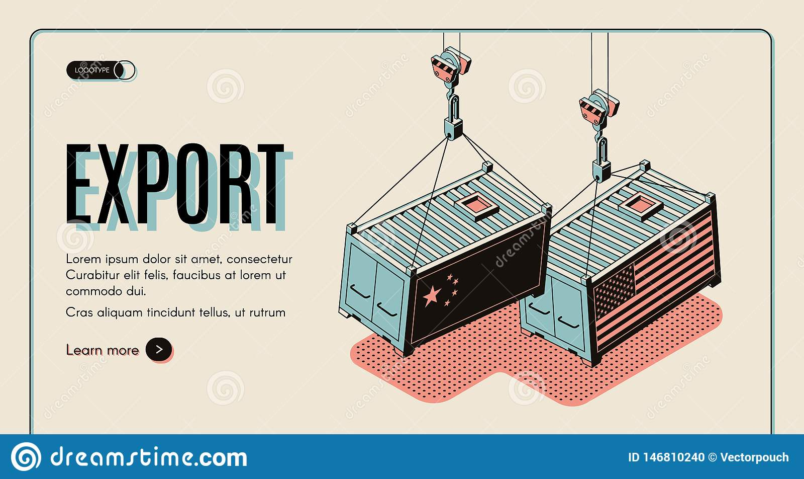 Web site do vetor da exportação dos bens dos países estrangeiros