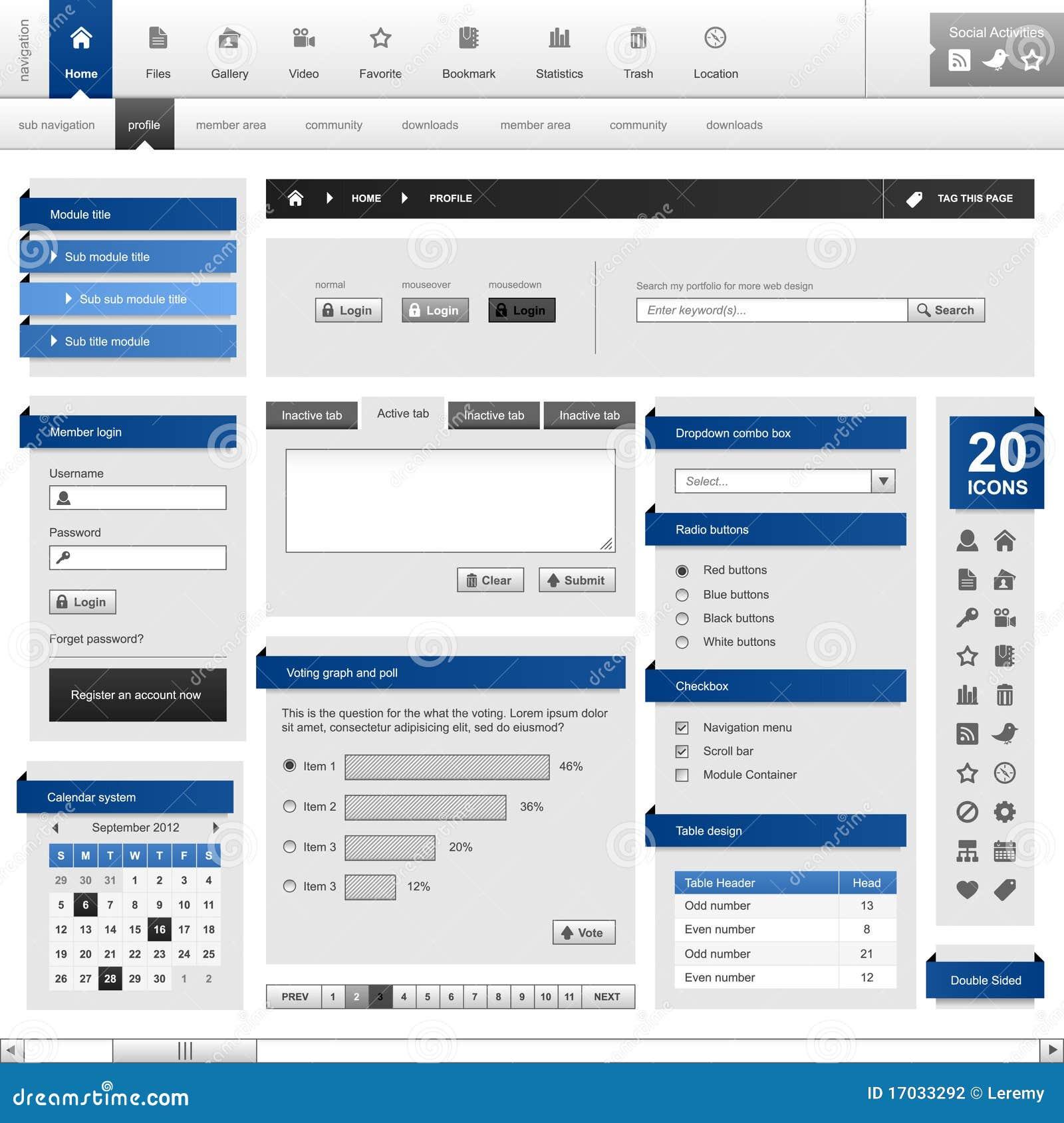 Web-site-Element-Auslegung-Schablone Vect