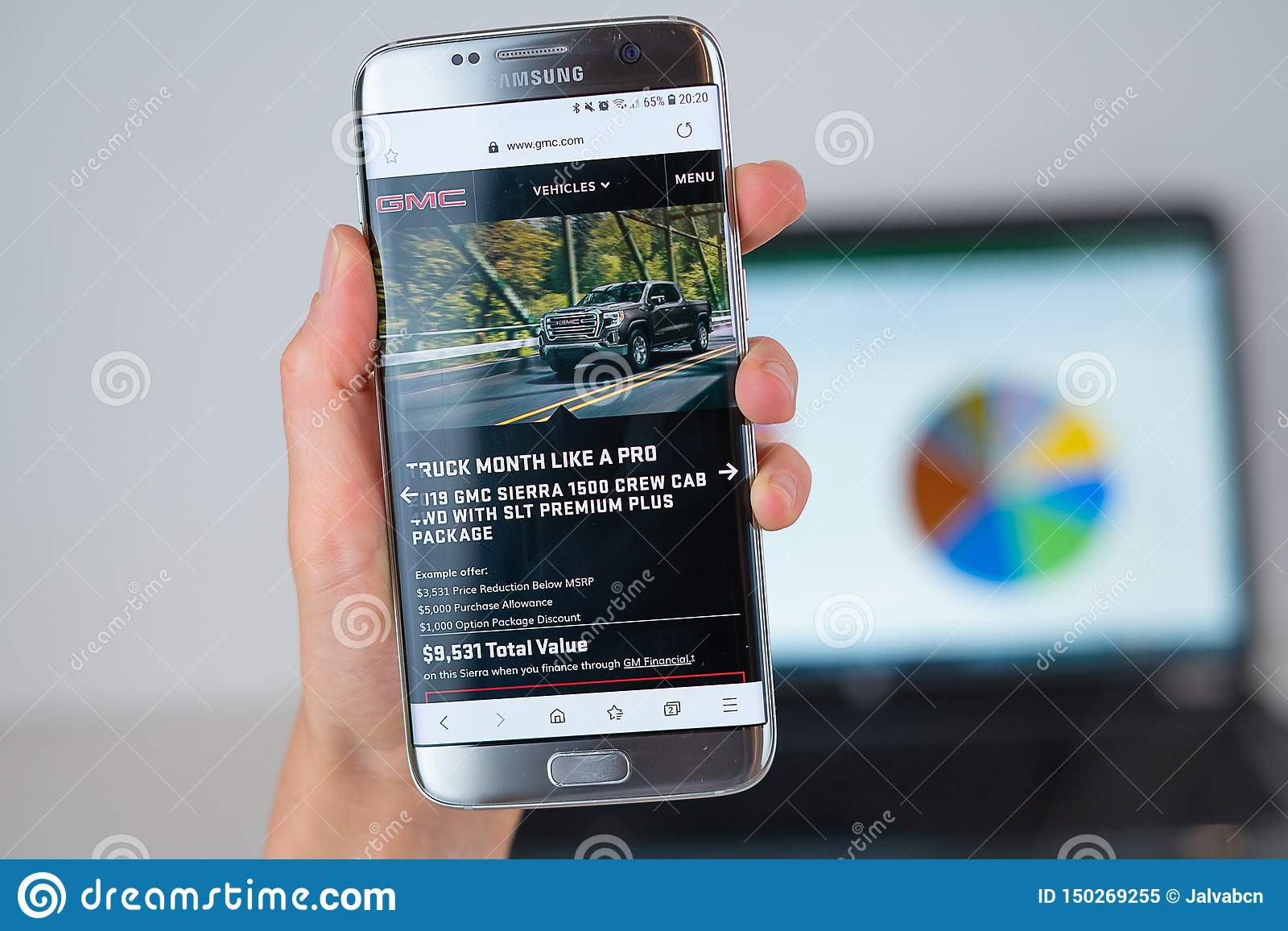 Gm Financial Phone >> Web Site Of Gmc Company On Phone Screen Editorial Image