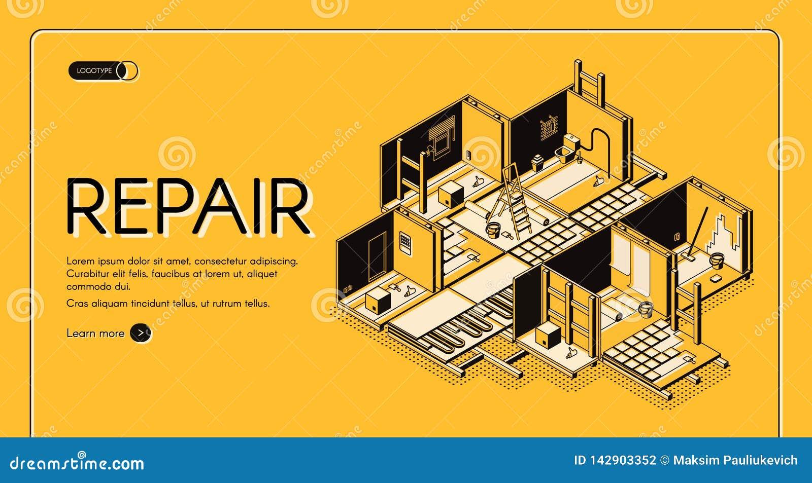 Web site isométrico do vetor da empresa do reparo da casa