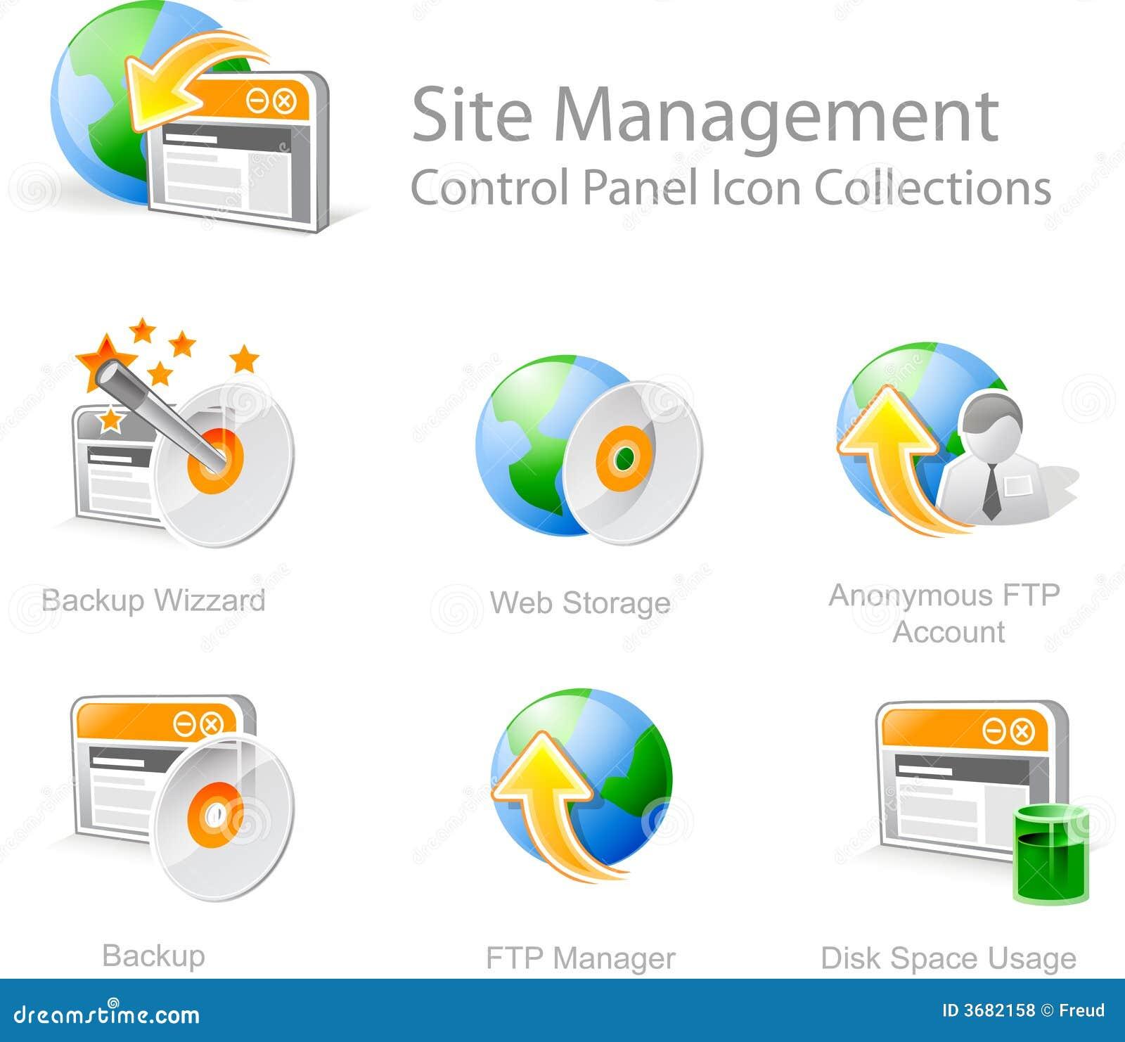 Web site management icons