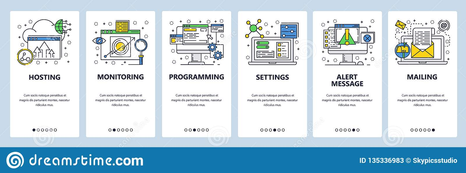 Web site onboarding screens. Computer and internet services, coding. Menu vector banner template for website and mobile