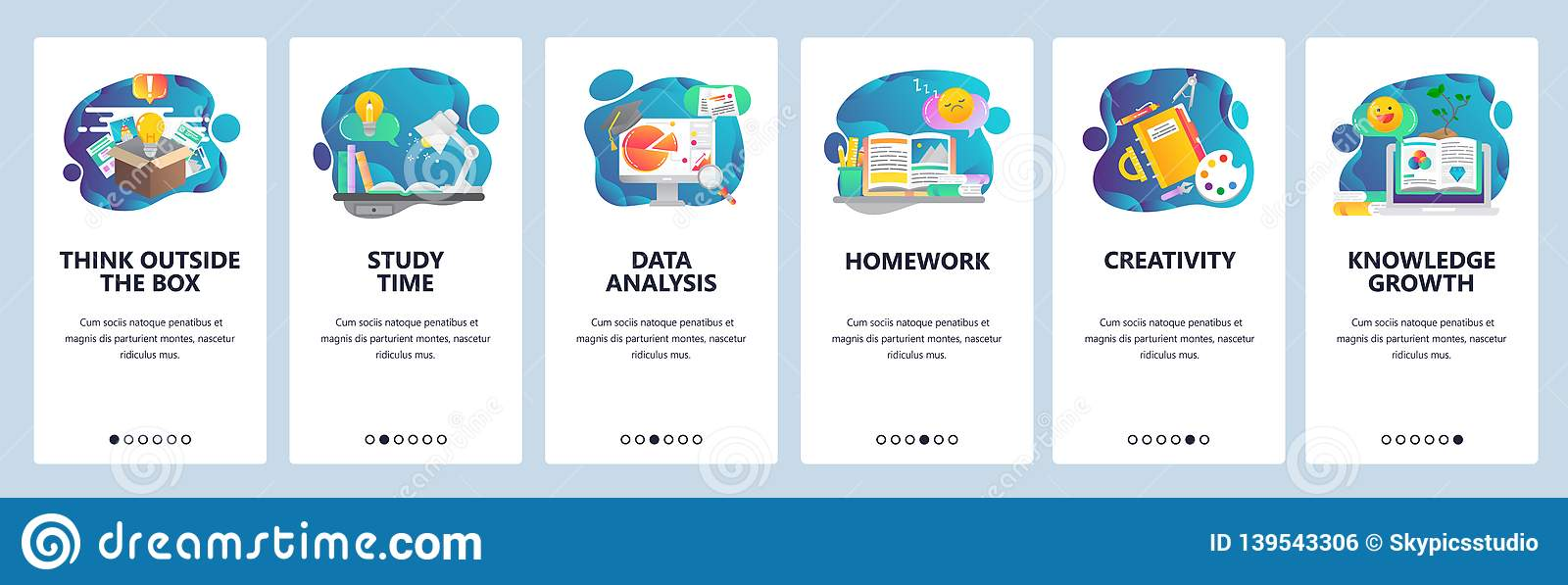 Web site onboarding screens. Education, knowledge, studying and creativity. Menu vector banner template for website and