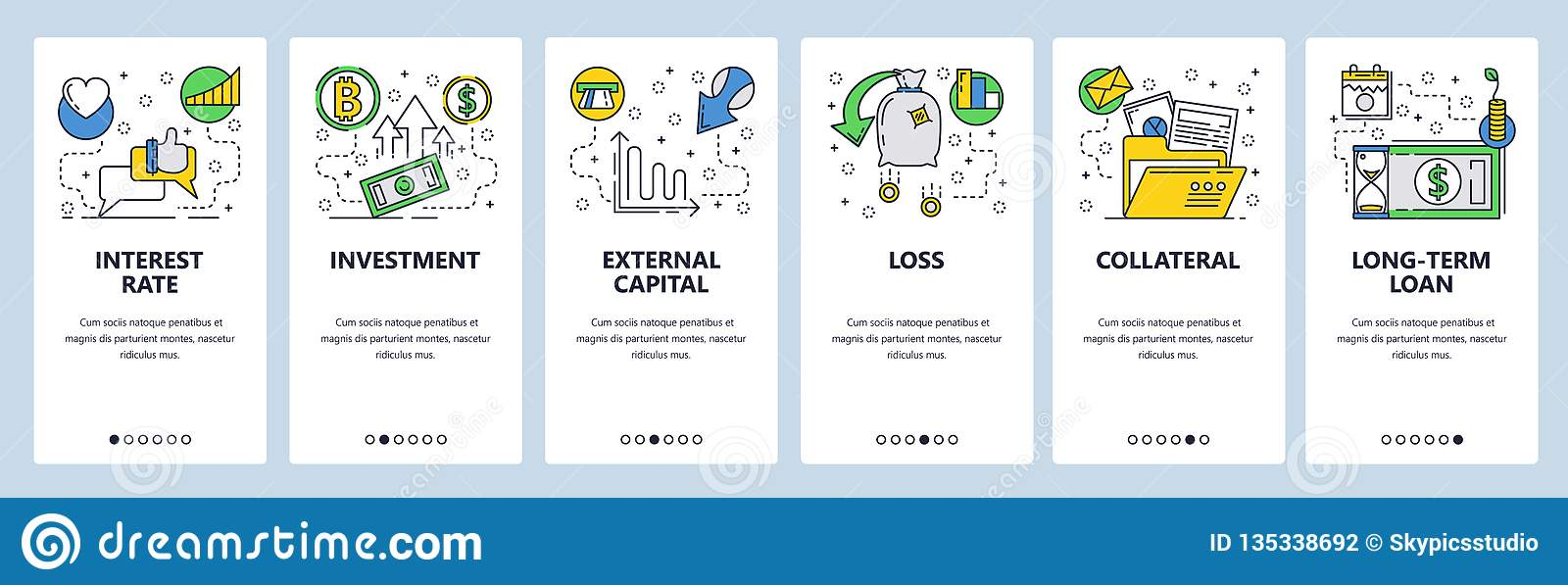 Web site onboarding screens. Finance, banking, investment, money flow. Menu vector banner template for website and