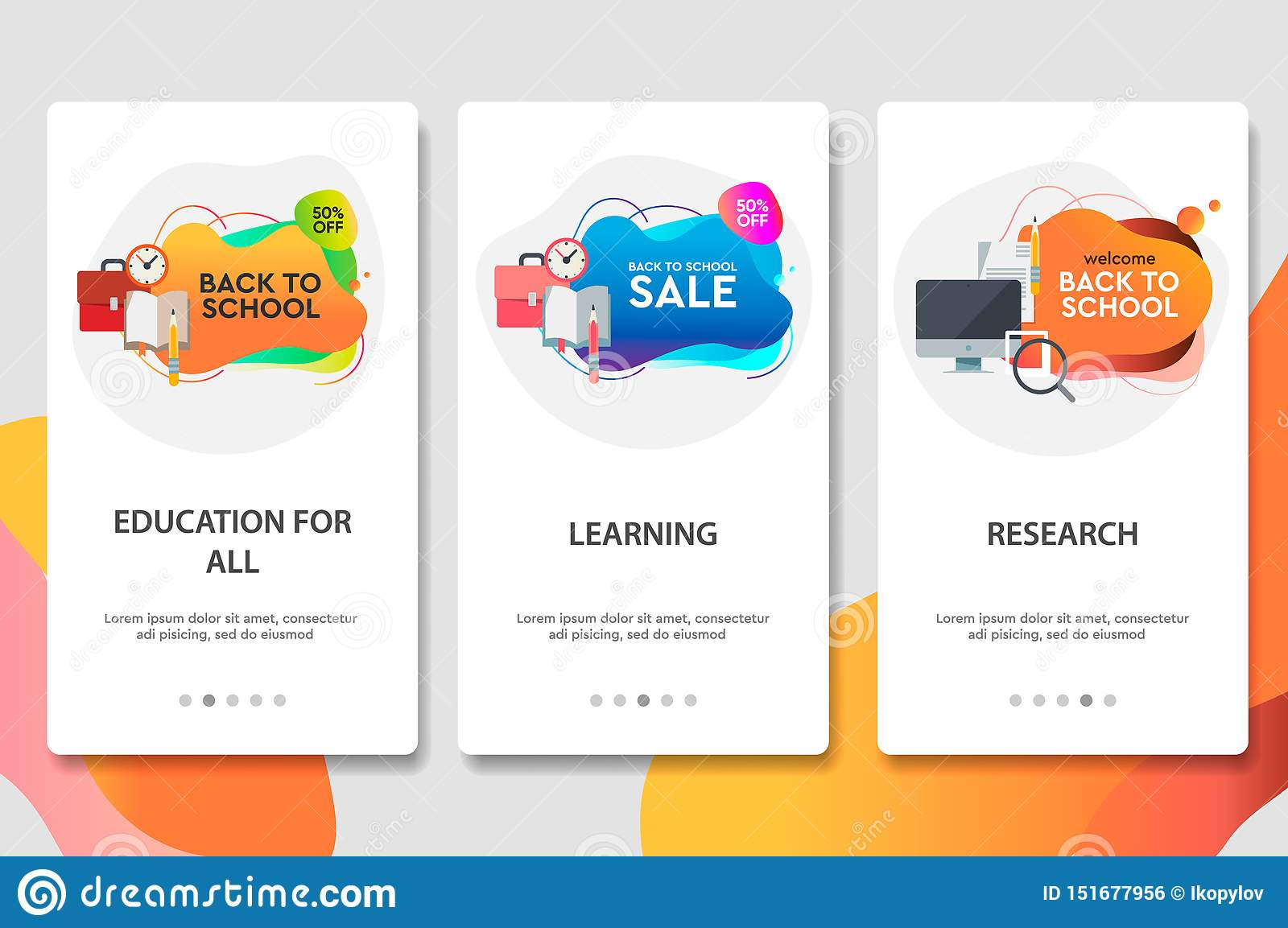 Web site onboarding screens. Online education. Digital internet tutorials and courses. Menu vector banner template for