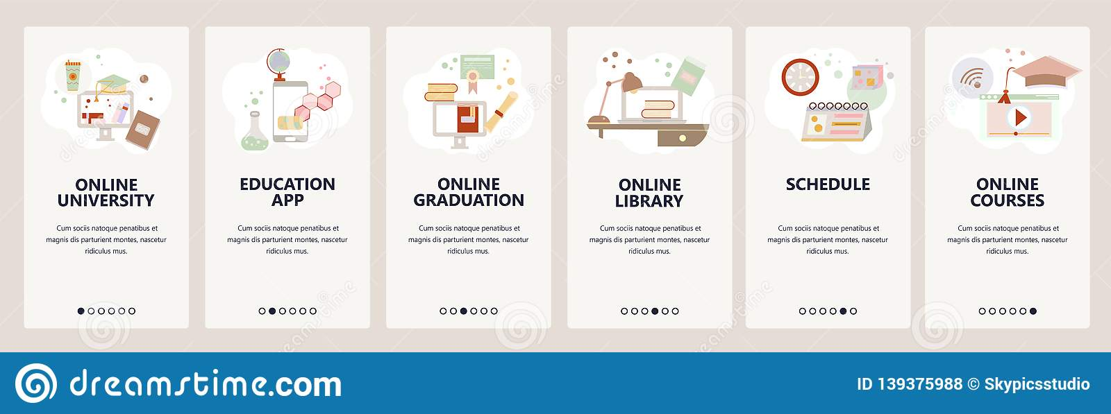 Web Site Onboarding Screens Online Education E Learning And Digital Library Internet Courses And Tutorials Menu Stock Vector Illustration Of Icon Certificate 139375988