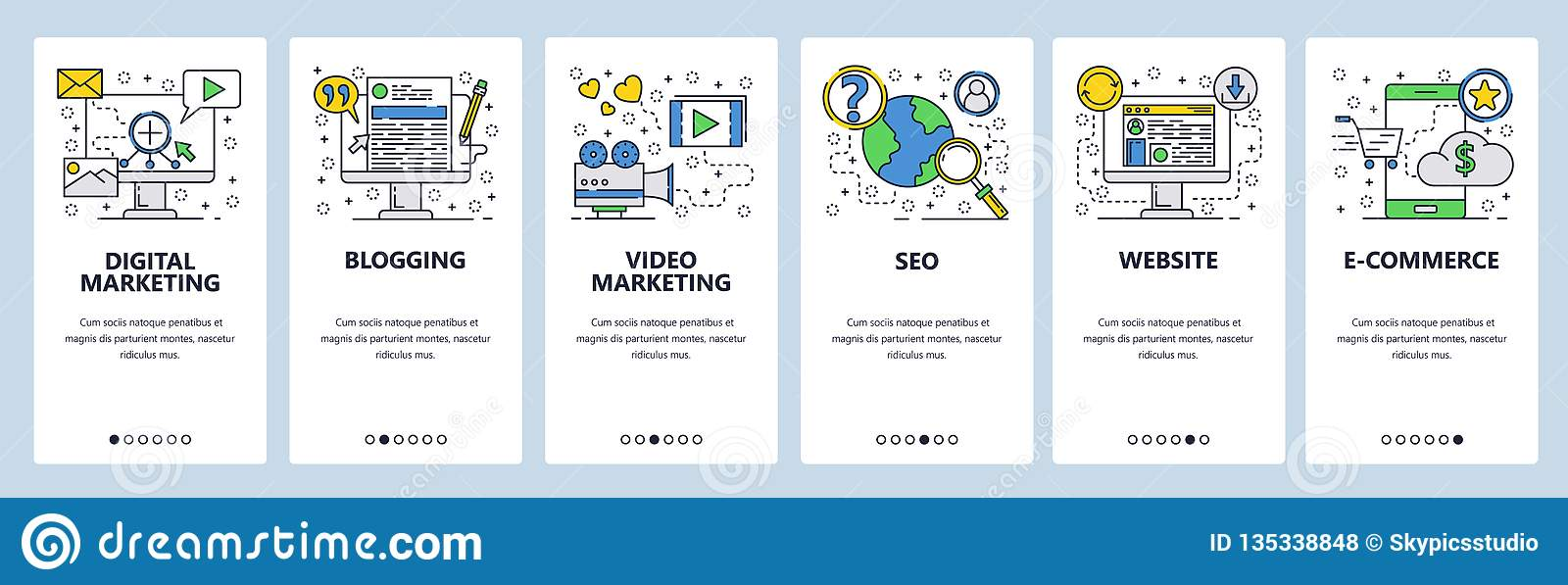 Web site onboarding screens. SEO, digital marketing, online shopping, video. Menu vector banner template for website and