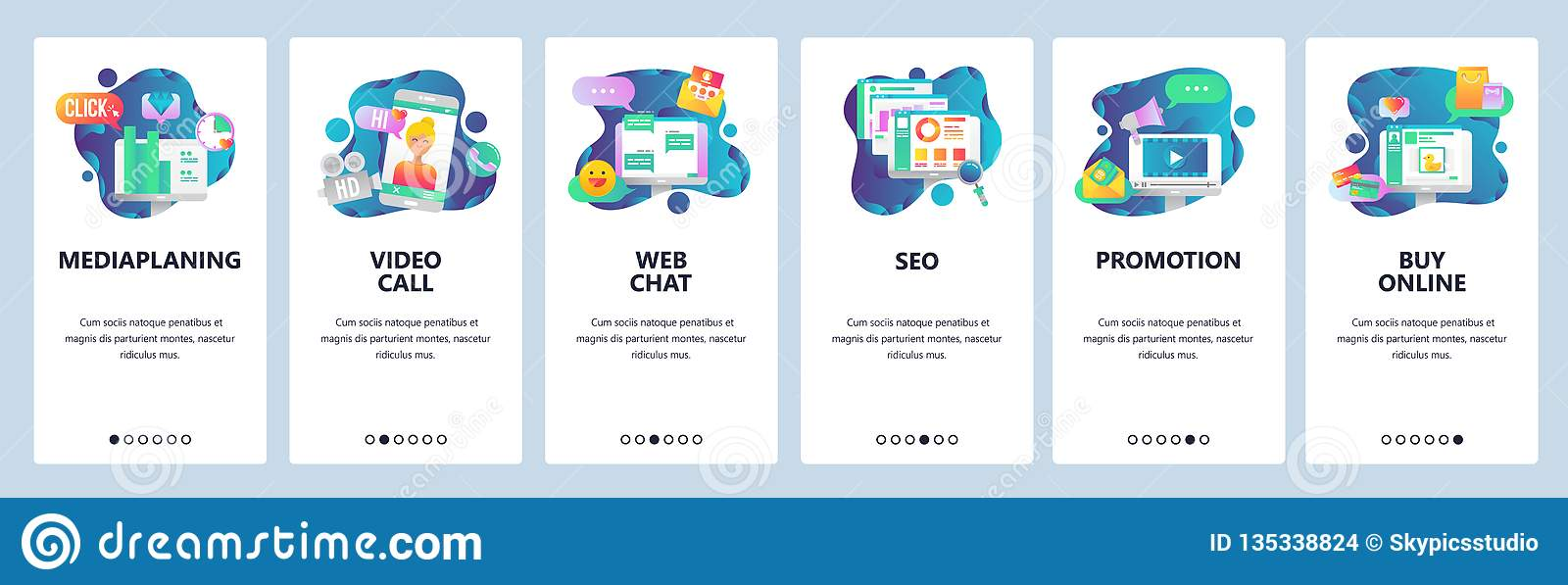 Web site onboarding screens. Social media, online chat, video call, SEO and marketing promotion, online shopping. Menu