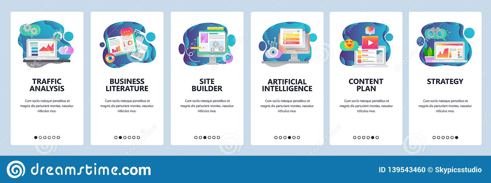 Web site onboarding screens. Traffic analysis, AI, business development and website coding. Menu vector banner template
