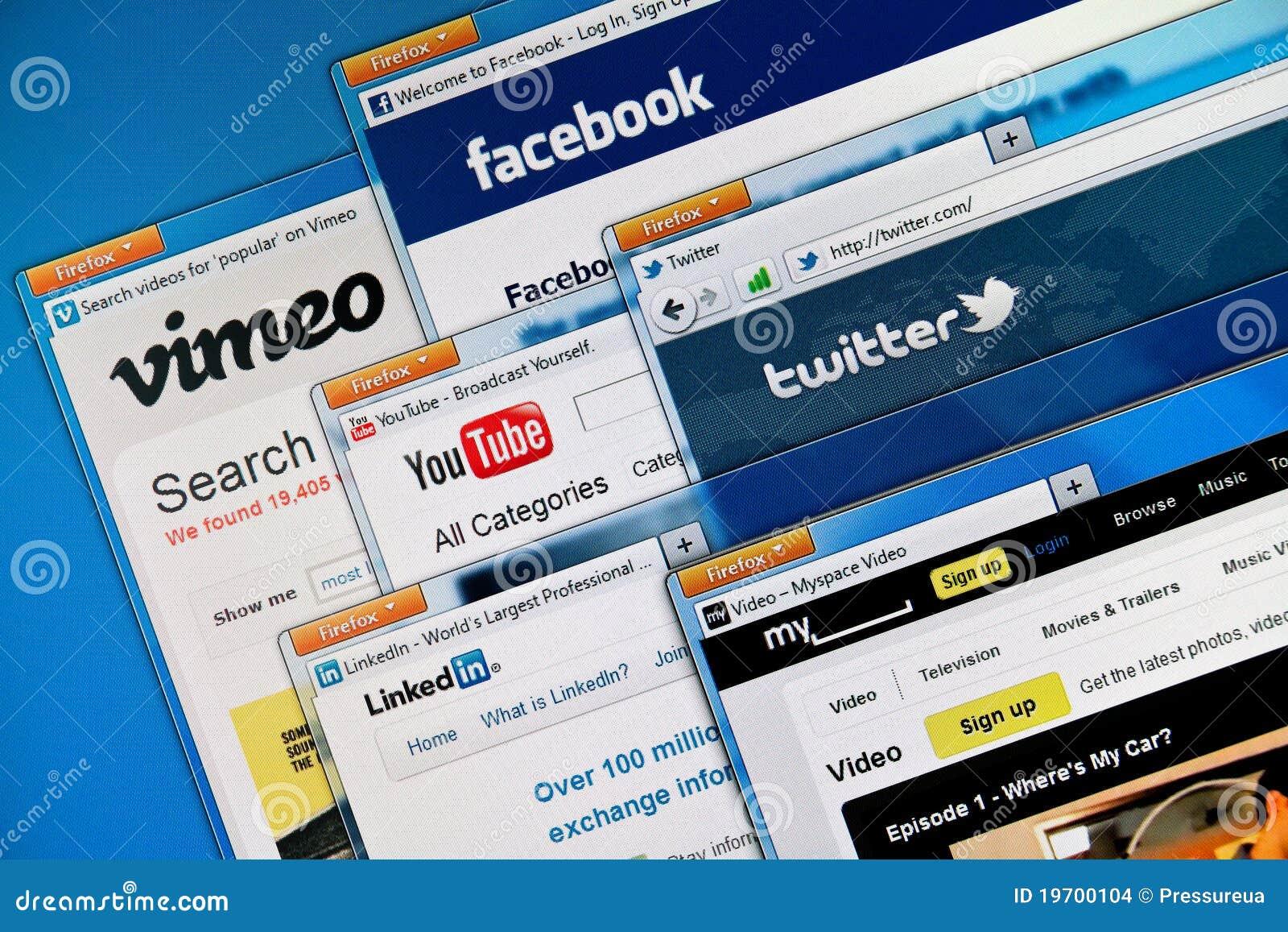 Web site sociais dos media