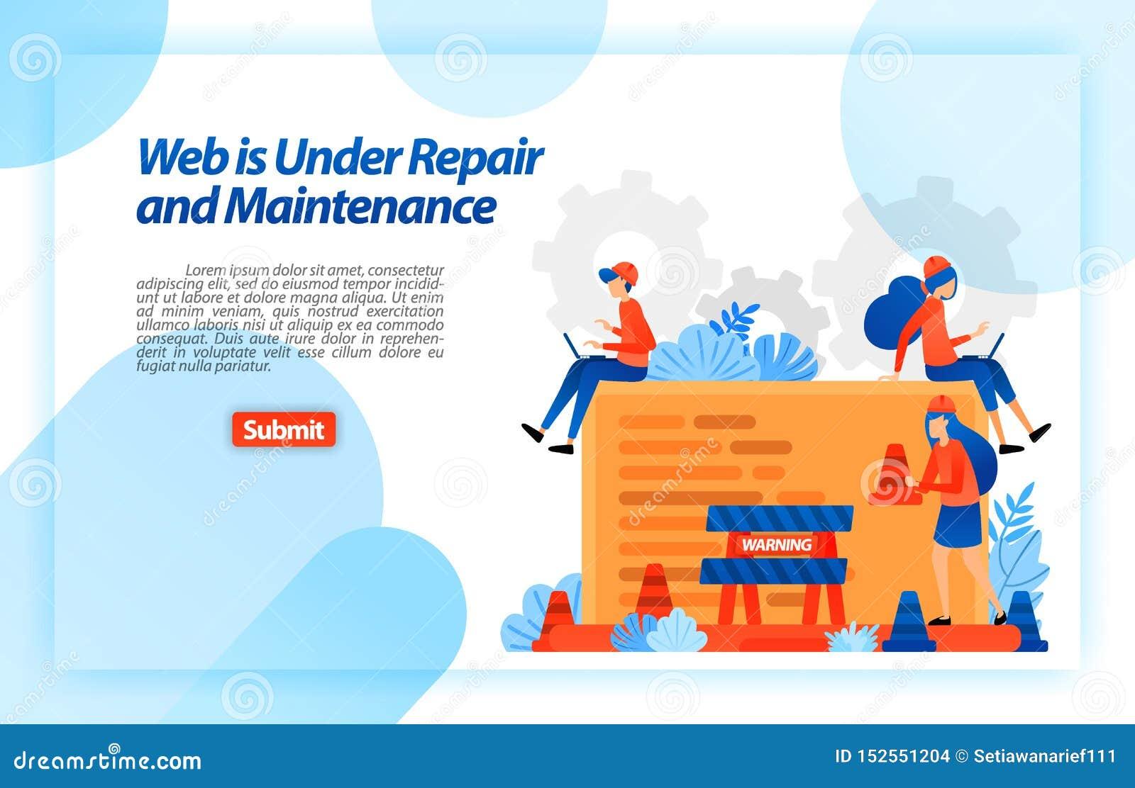 Web sob o reparo e a manutenção Web site em processo do programa do reparo e de melhoria para uma experiência melhor Vetor Illust