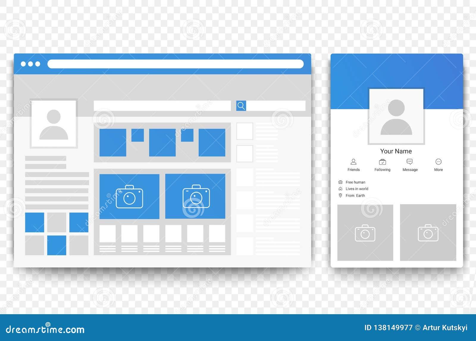 Web social de la red y navegador móvil de la página Concepto de ejemplo social del vector del interfaz de la página