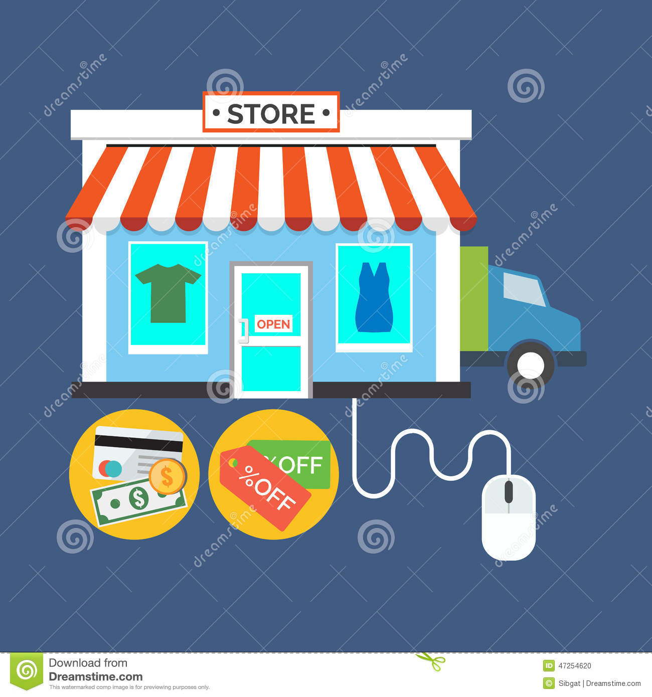 web store online shop concept flat design stylish stock vector image 47254620. Black Bedroom Furniture Sets. Home Design Ideas