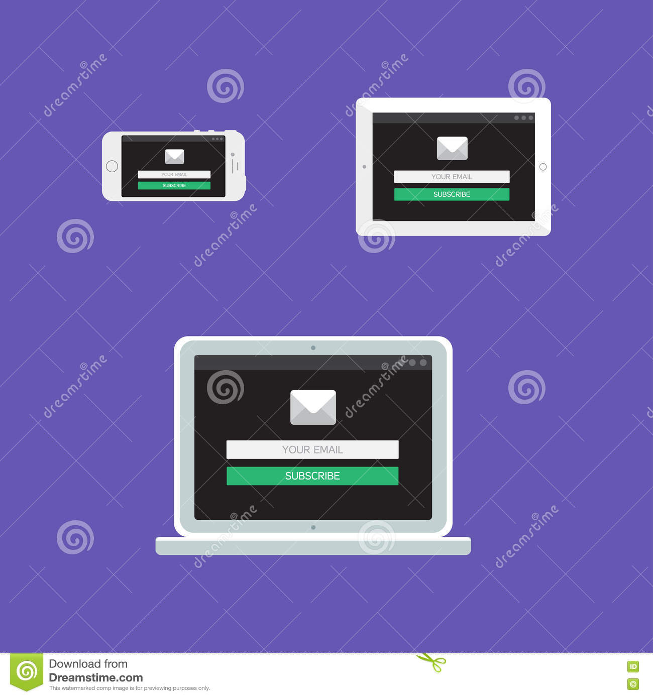 Web Template Of Adaptive Email Form Stock Illustration