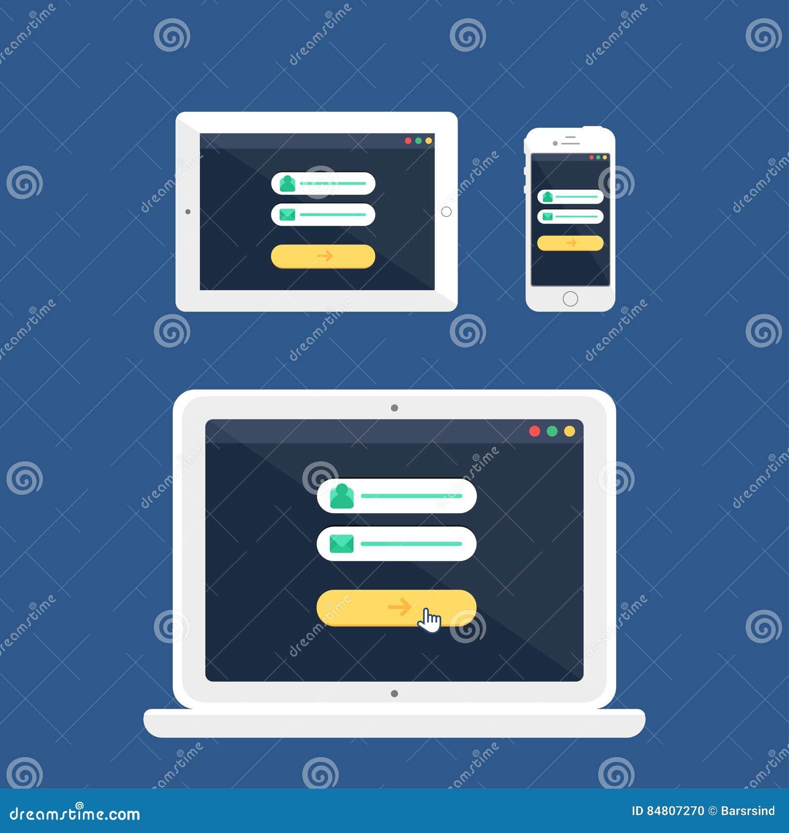 Web Template Of Adaptive Online Login Form Stock Illustration