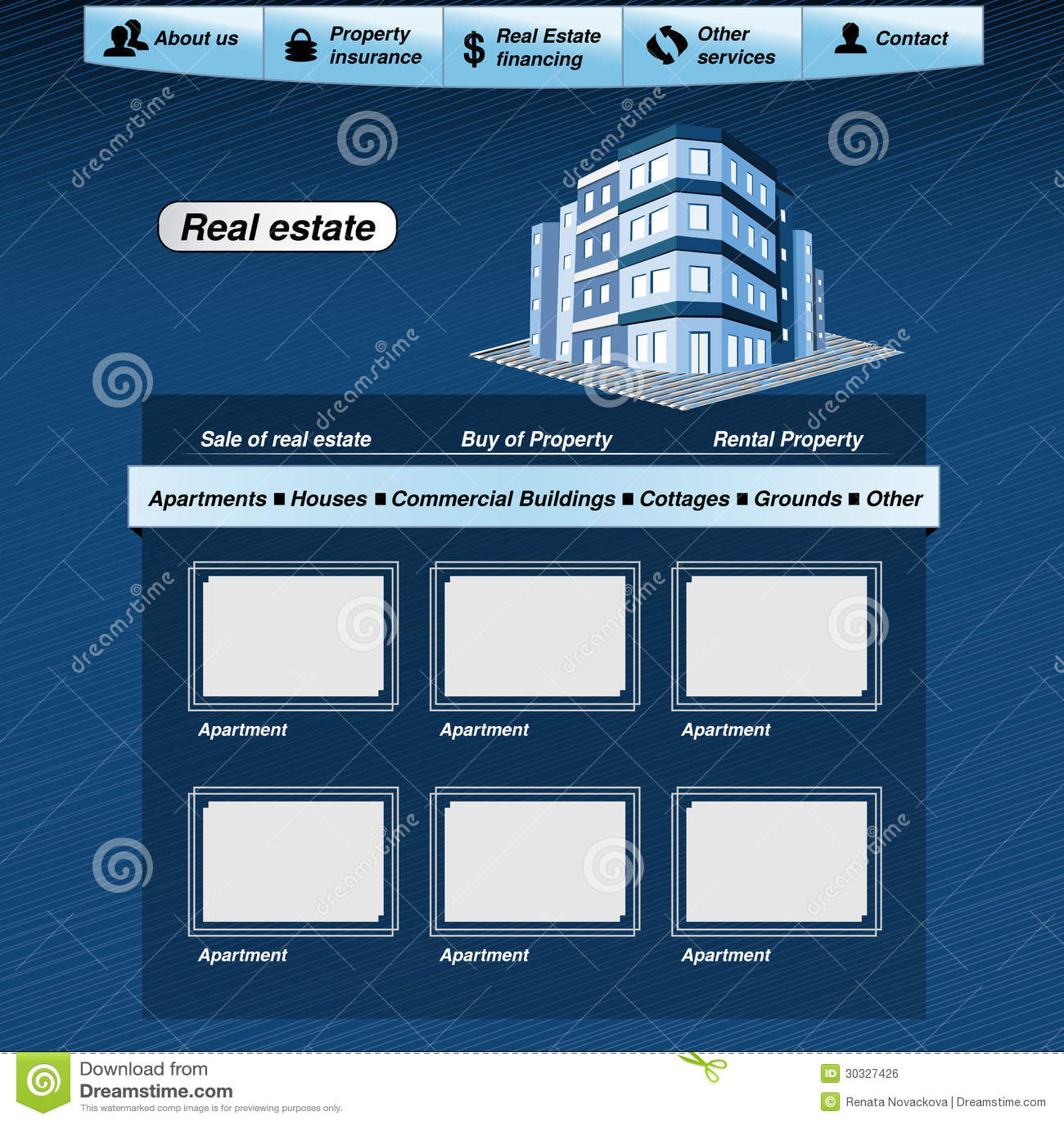 Web Template, Real Estate Webdesign Proposal Stock Vector ...
