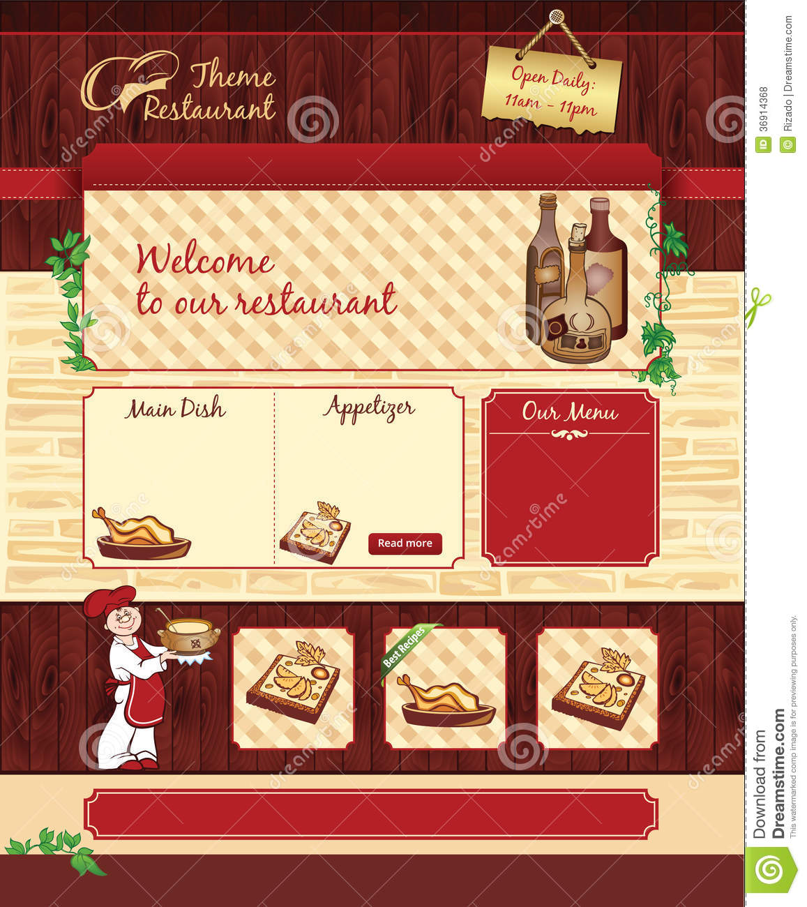 Web Template For Retro Restaurant Or Cafe Stock Vector