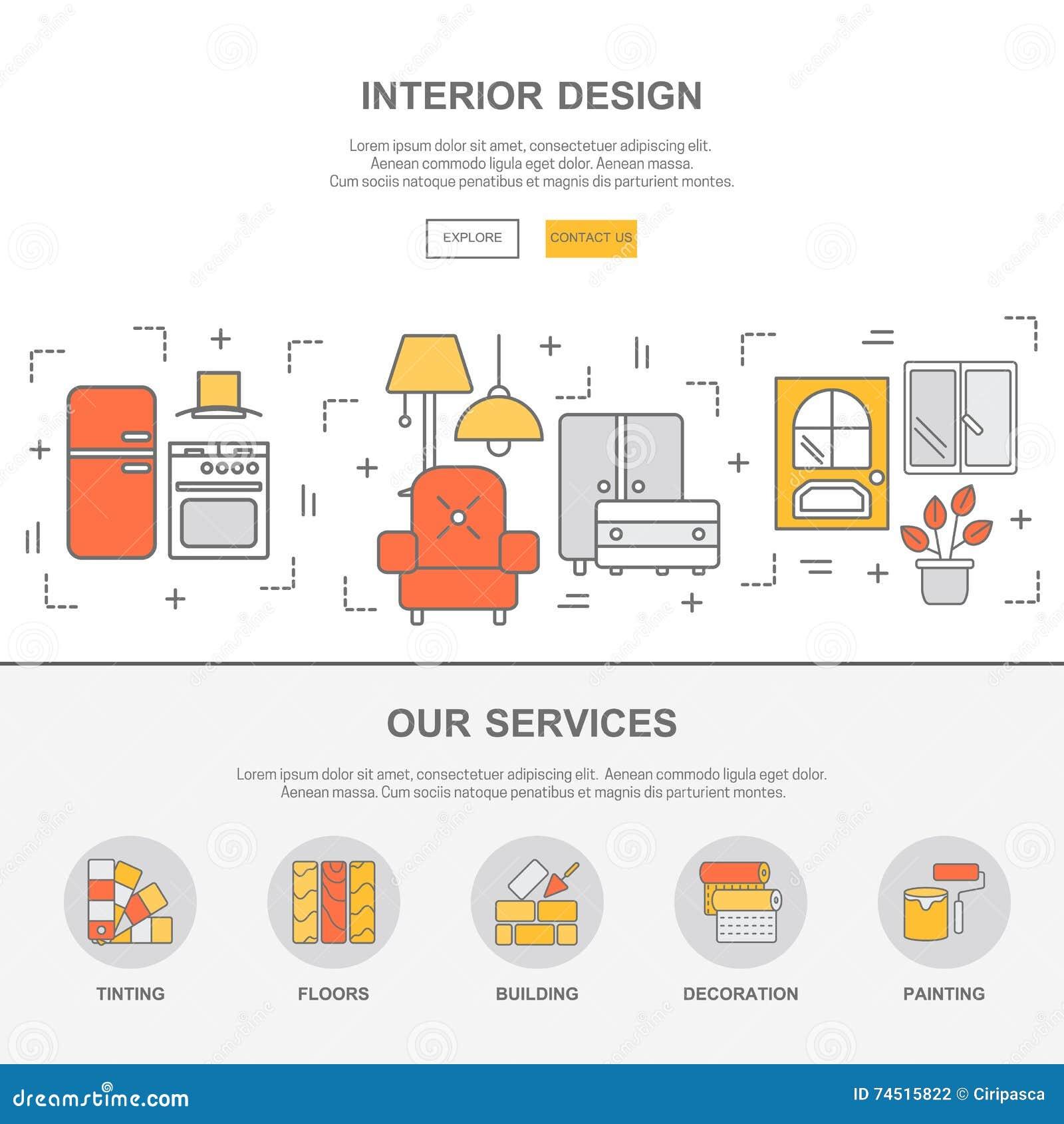 Concept Design Flat Graphic Interior Line Template Thin Web Website Icon