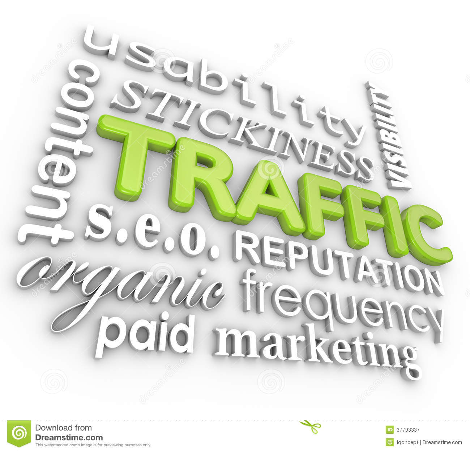 Web Traffic 3D Word Collage Online Reputation Website