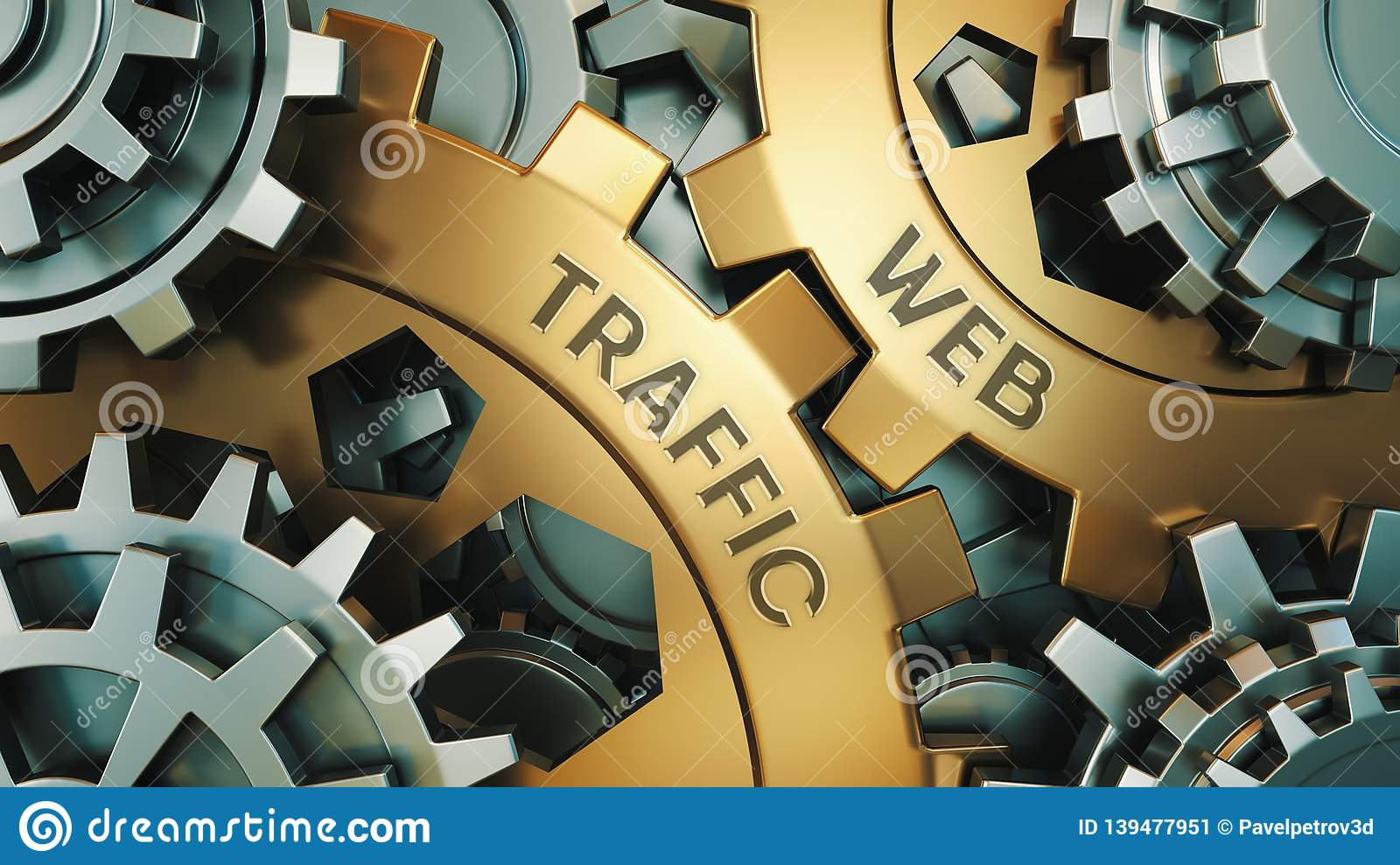Web traffic - Concept. The inscription on the golden cogwheels. In the background is a clock or engine mechanism. 3d illustration